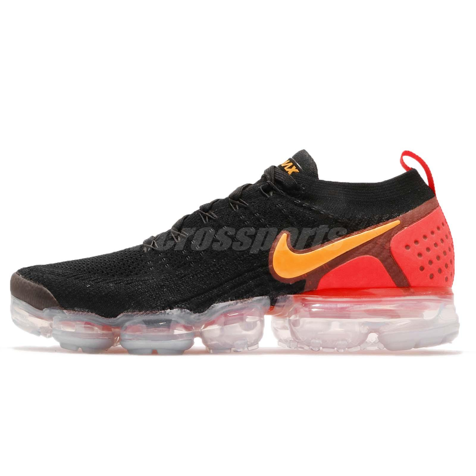 ffd676b909616 Nike Air Vapormax Flyknit 2 II Black Laser Orange Men Running Shoes 942842 -005