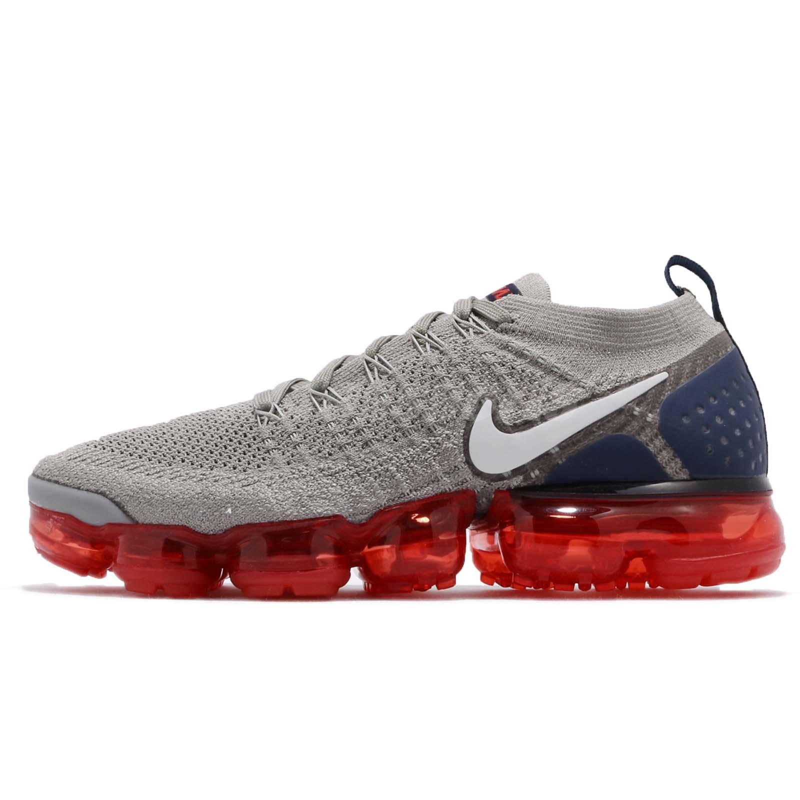 e12b9d110cc Nike Nike Air Vapormax Flyknit 2 II Dark Stucco Navy Red Men Shoes 942842- 010