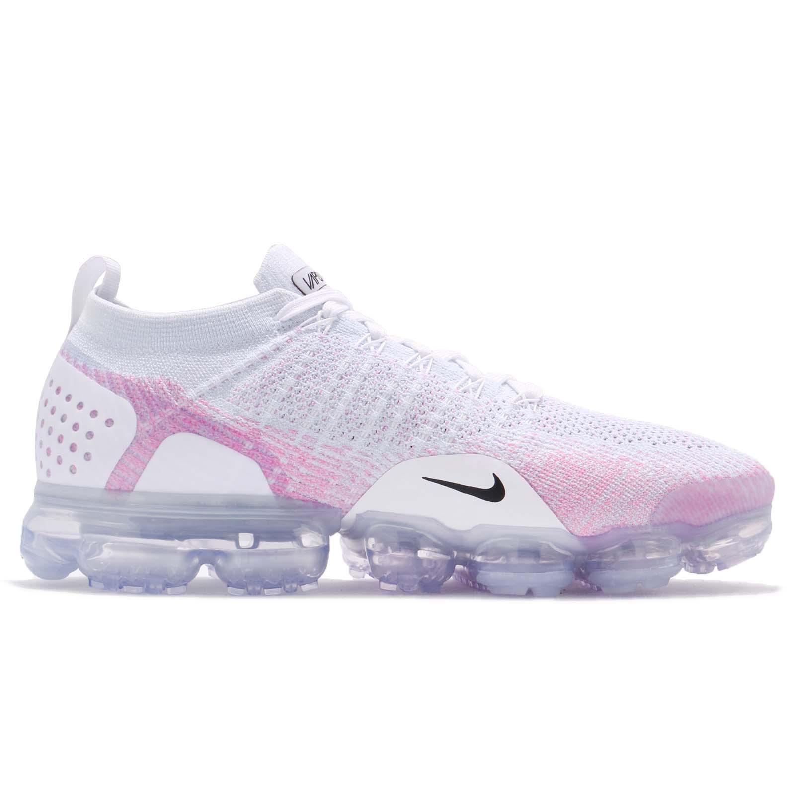 Nike Air Vapormax Flyknit 2.0 White Hydrogen Blue Pink Men Running ... 2a4a17ef3c71