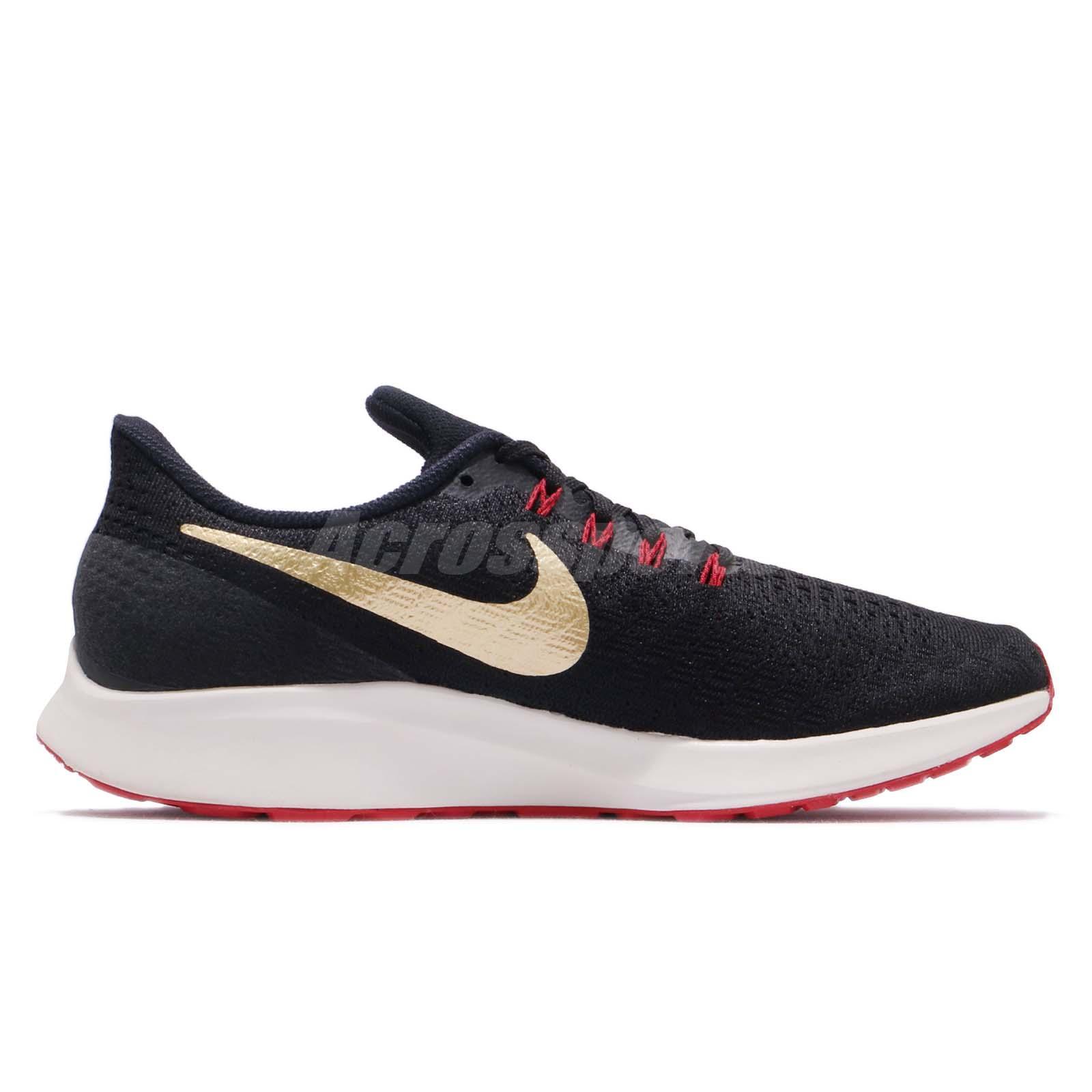 2c1d1cdaee38b Nike Air Zoom Pegasus 35 Black Gold Red Men Running Shoes Sneakers ...