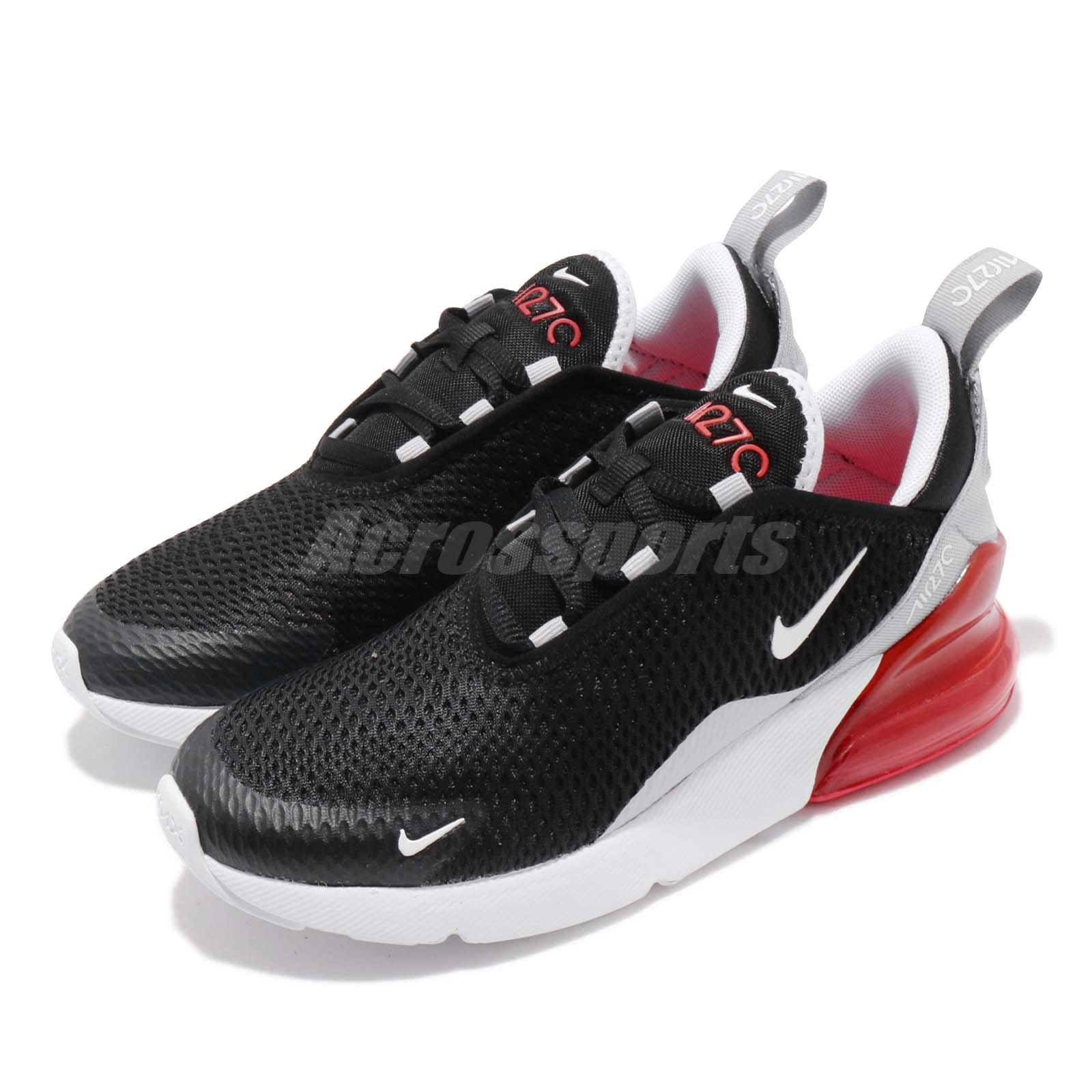 2ec5d157b49c Details about Nike Air Max 270 GS Black White Red Kids Womens Running Shoes  943345-013