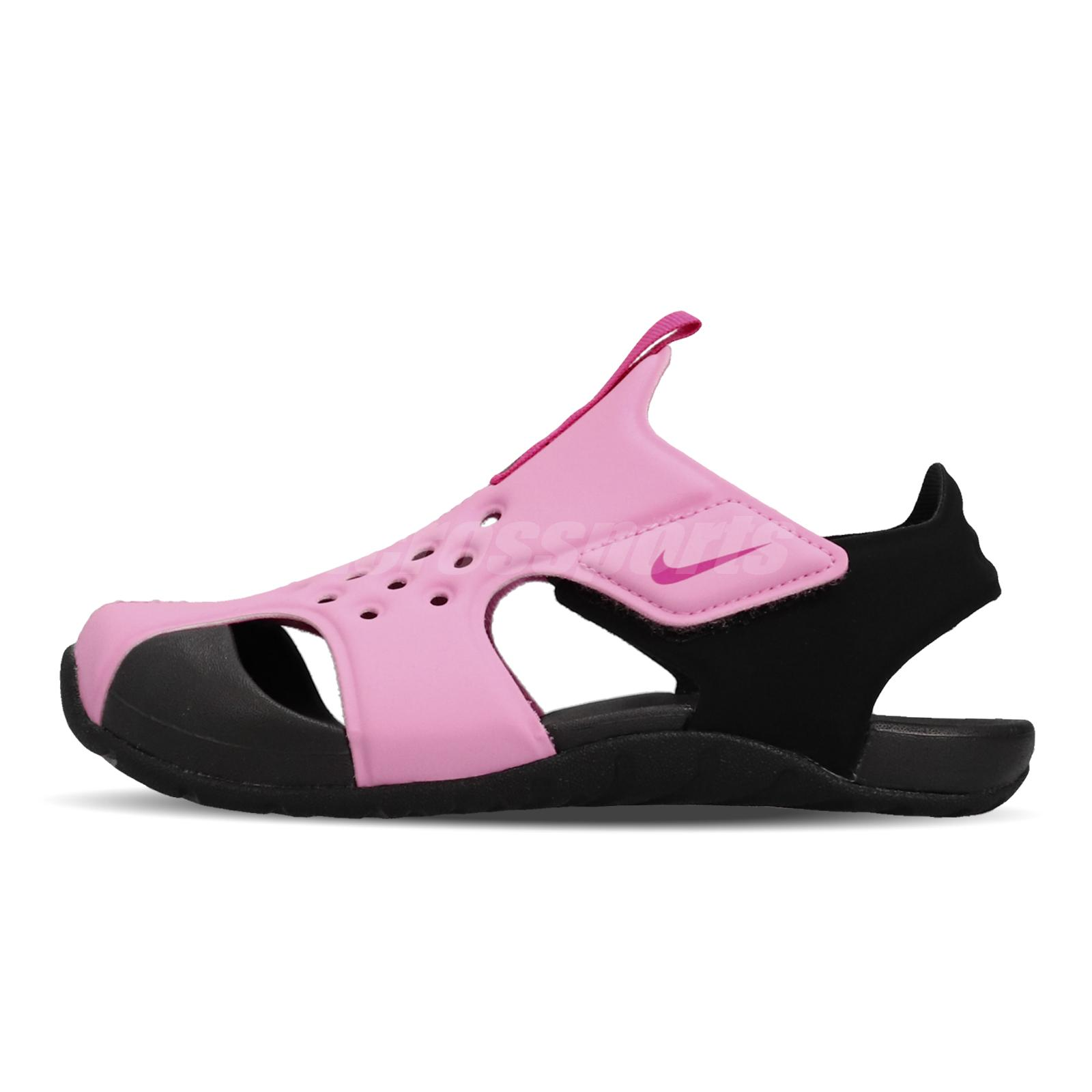 Details about Nike Sunray Protect 2 PS Pink Black Kid Preschool Sports Sandals Shoe 943826 602