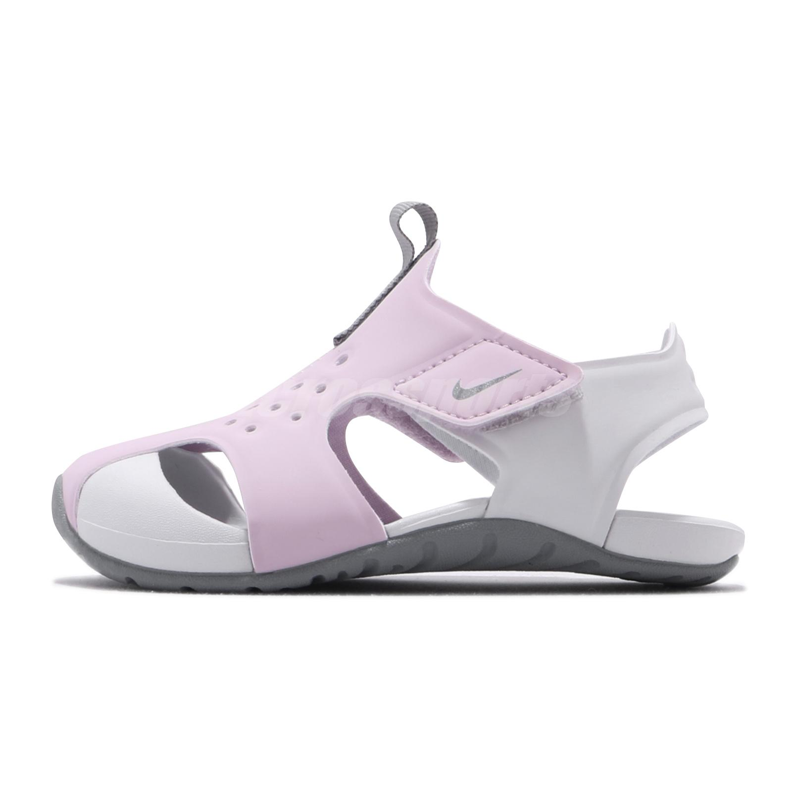 Nike Grey and Pink Sunray Protect 2 Infant Size 7.5