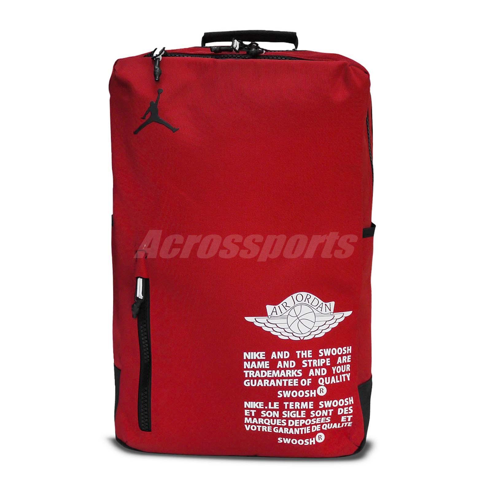 size 40 b7a8f e051b Nike Jordan AJ Labels 1 2 Wing Red Black Jumpman Backpack Bag 18L ...
