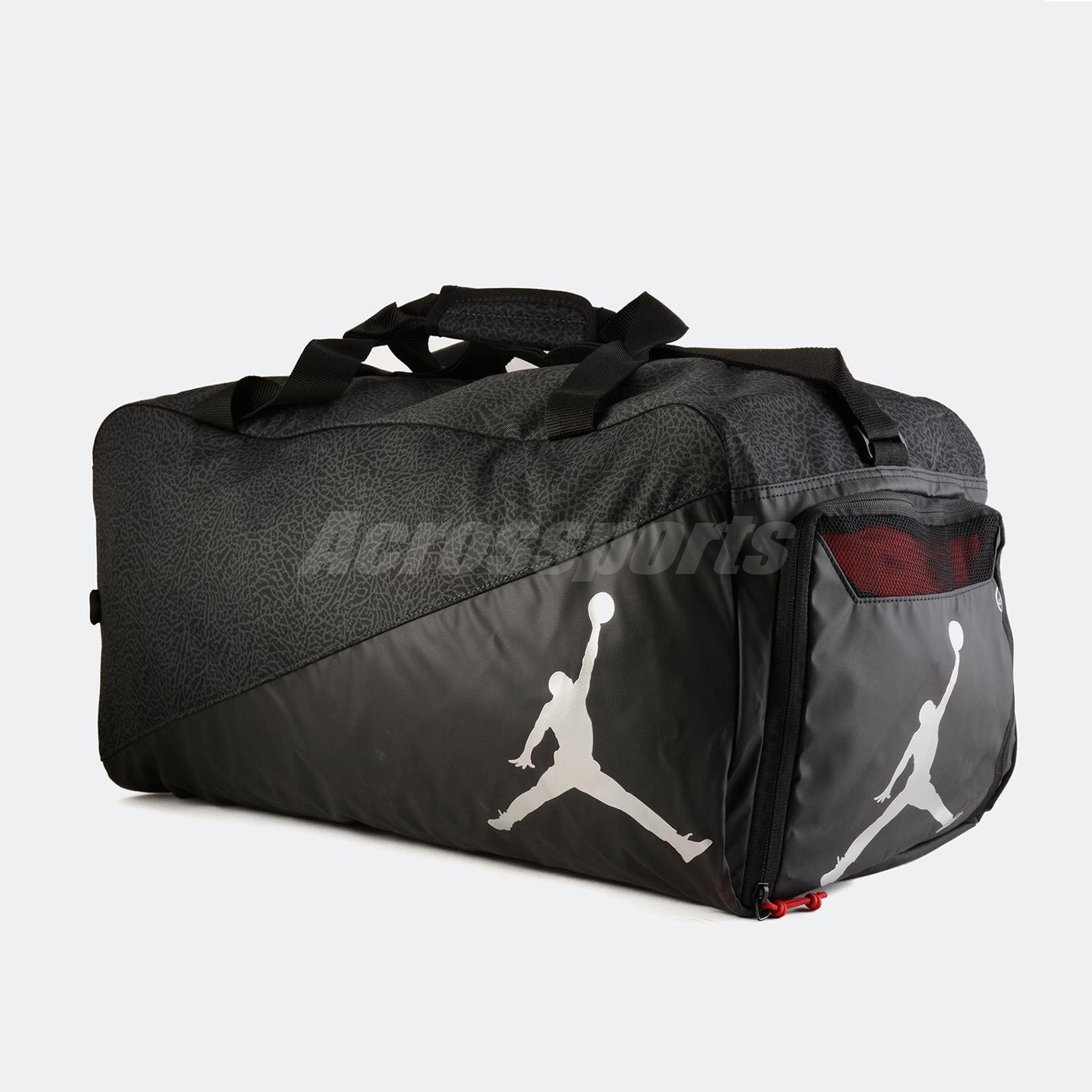 Nike jordan elemental duffle bag large elephant print jumpman black silver  gym jpg 1600x1600 Jordan duffel b5b92de702