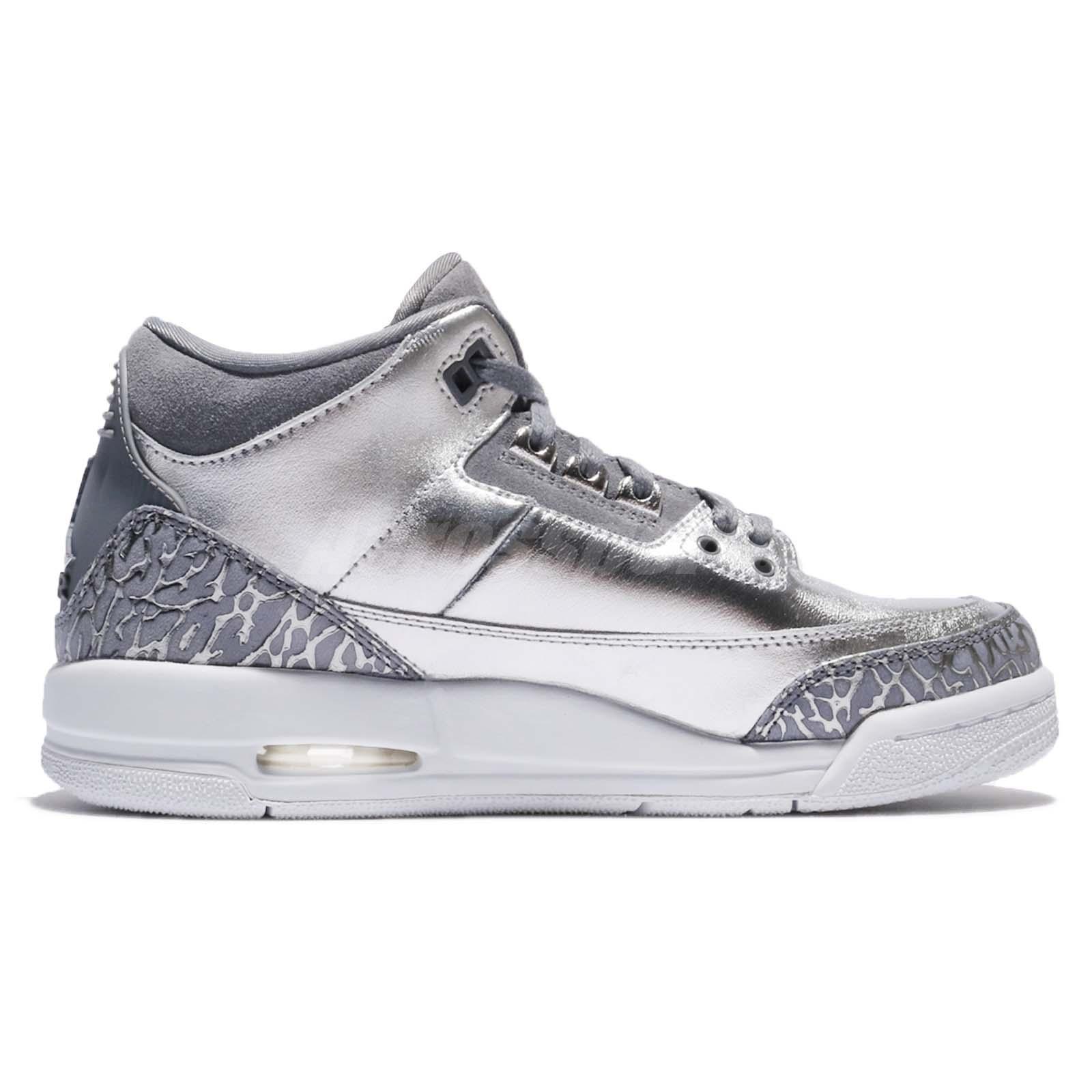 3b6f12e6c50b Nike Air Jordan 3 Retro PREM HC III AJ3 Chrome Silver Kid Women ...