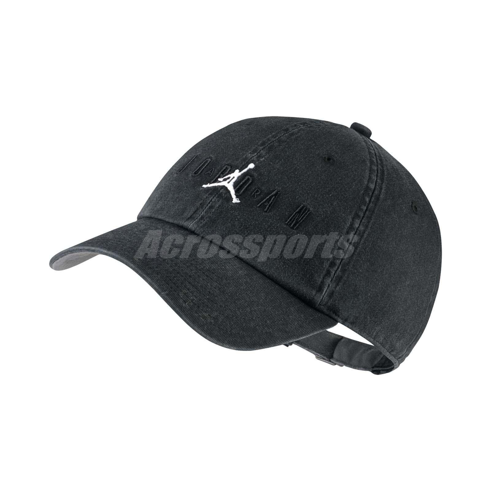 9970642fd7c55 Details about Nike Jordan Heritage 86 Jumpman Air Cap H86 Hat Sports Washed  Black AA1306-010