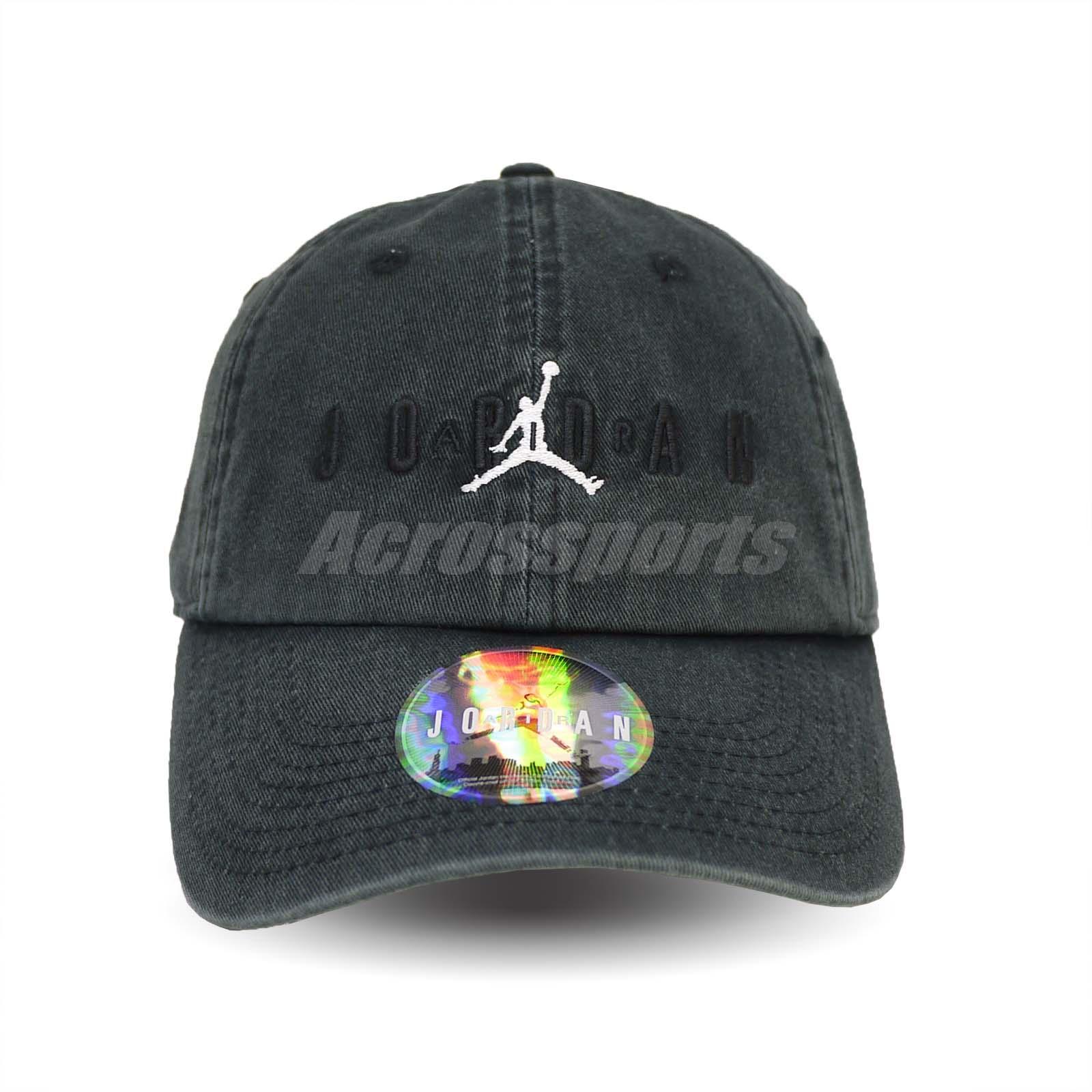 3e6dfd11d53 Nike Jordan Heritage 86 Jumpman Air Cap H86 Hat Sports Washed Black ...