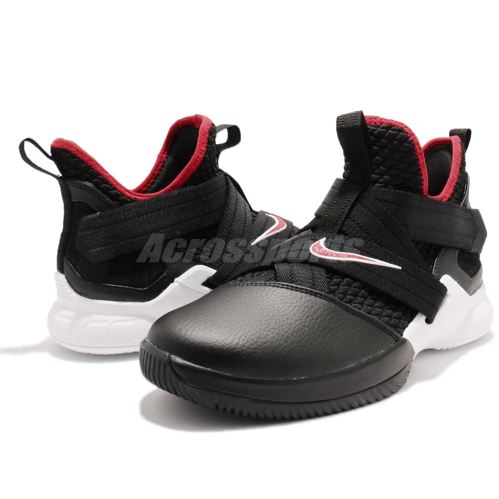 01deb429e1cc Nike LeBron Soldier XII GS 12 James Bred Black Red White Kid Youth ...