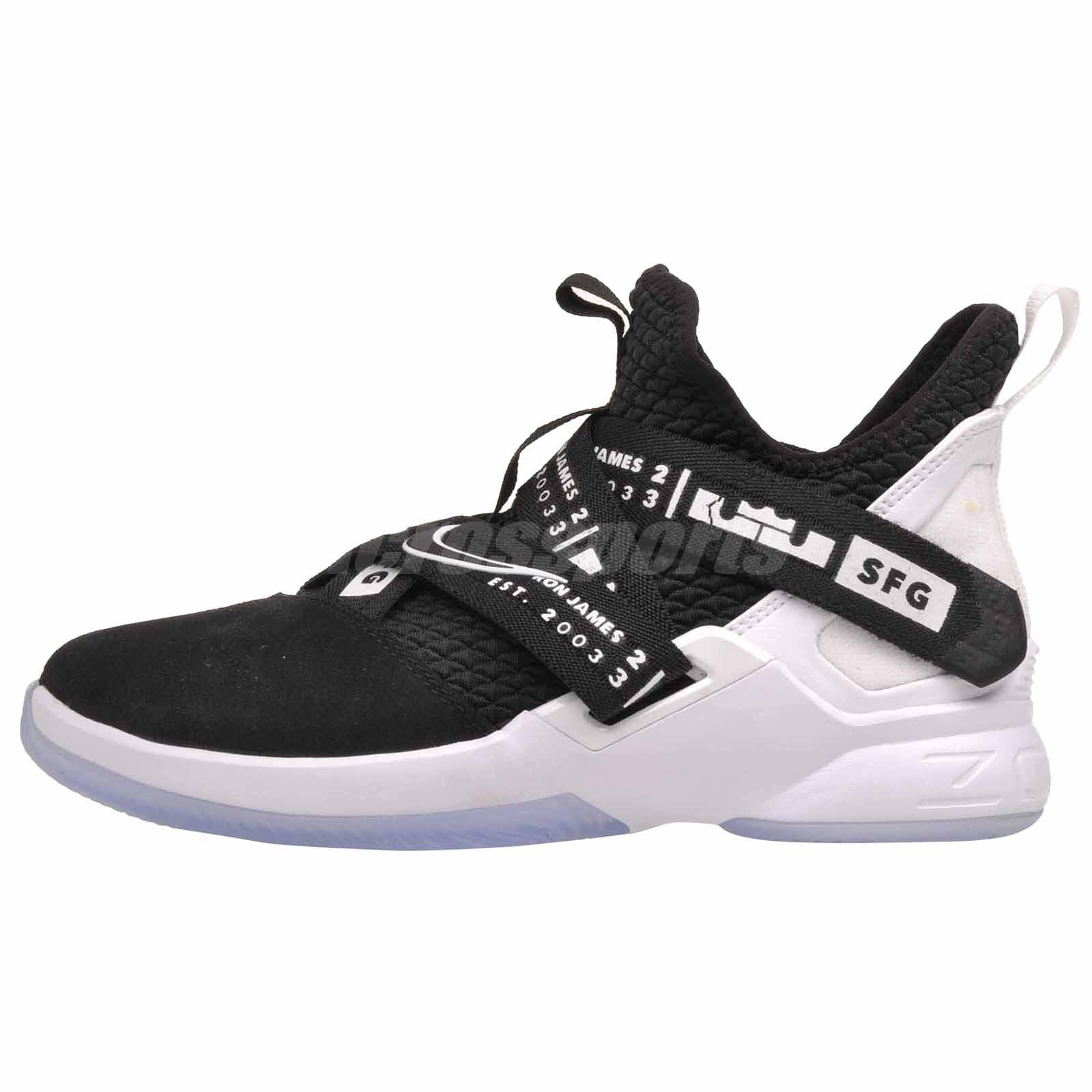 new product a7088 12aa1 Details about Nike LeBron Soldier XII GS Basketball Kids Youth Shoes Black  White AA1352-005