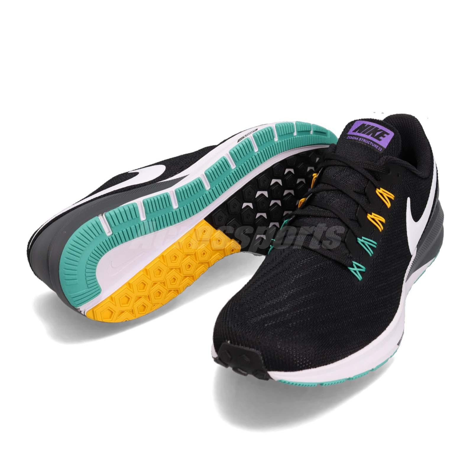 new concept f203b eb379 Details about Nike Air Zoom Structure 22 Black White Grey Men Running Shoes  Sneaker AA1636-008