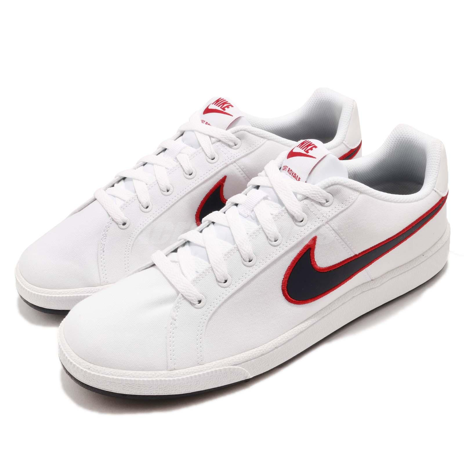 194472d0d455 Details about Nike Court Royale Canvas White Blackened Blue Red Men Casual  Shoes AA2156-101