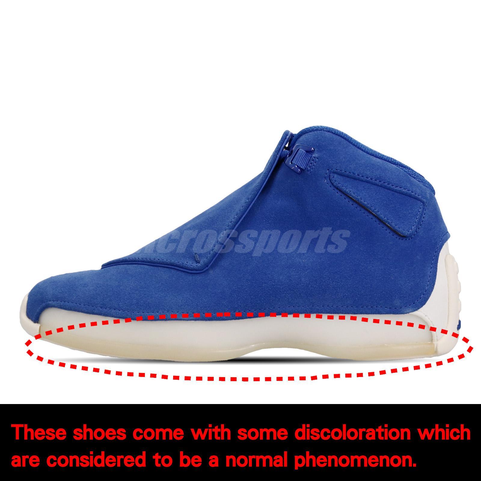4f733db12ac324 Nike Air Jordan 18 Retro Racer Blue Suede Mens Basketball Shoes AA2494-401