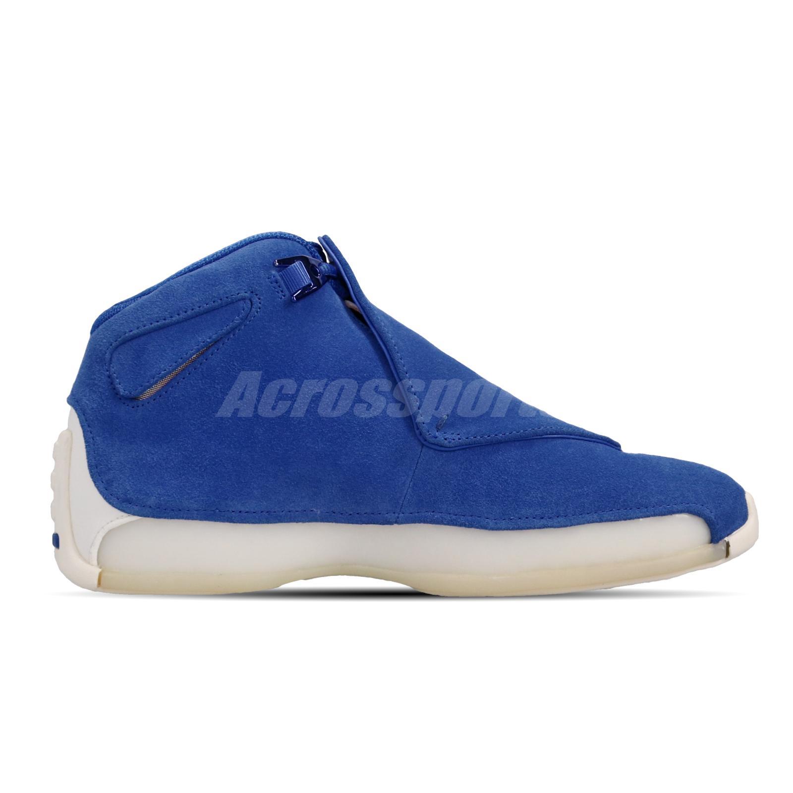 4e5b7d5cbff9a8 Nike Air Jordan 18 Retro Racer Blue Suede Mens Basketball Shoes ...