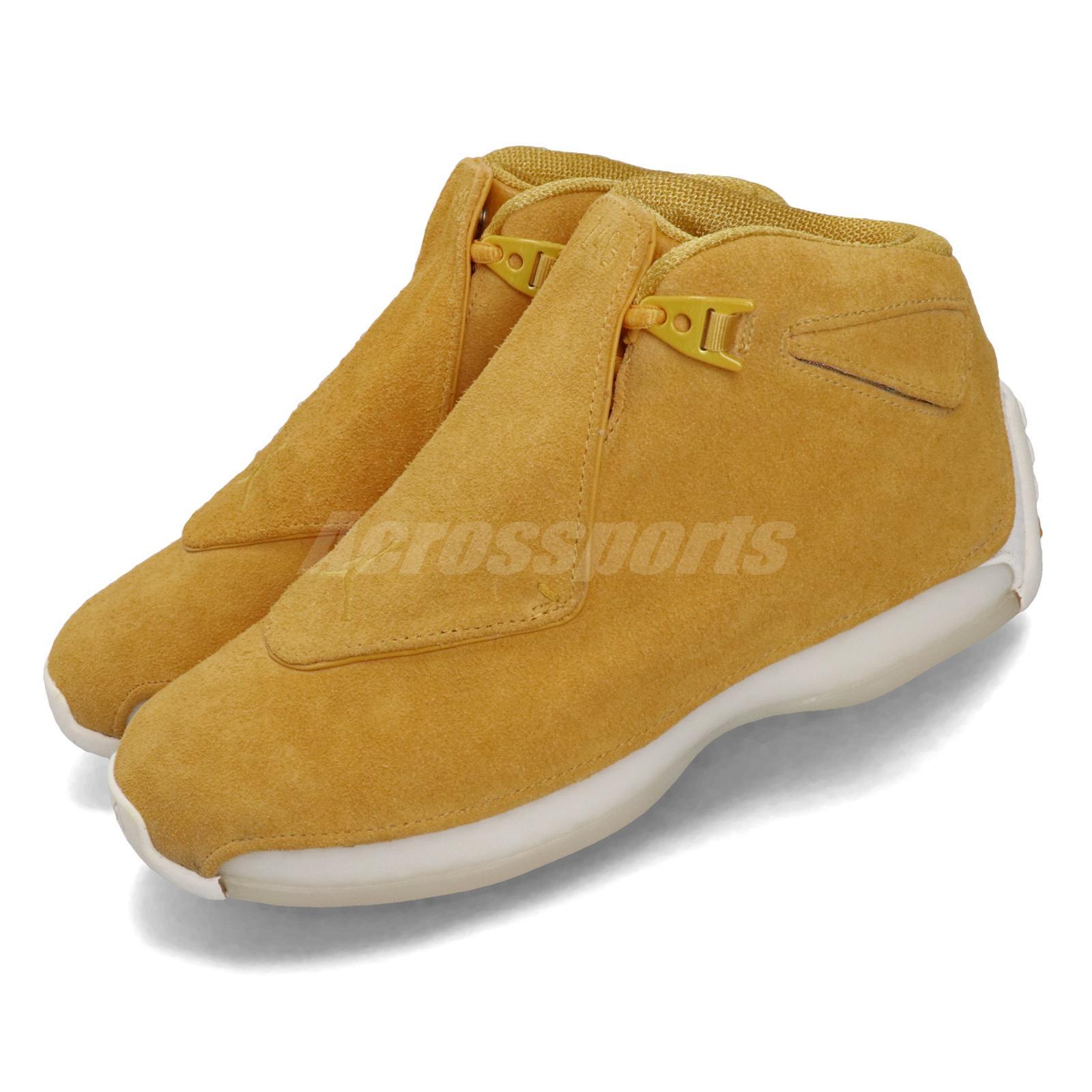 4c3bb70681b540 Nike Air Jordan 18 Retro Yellow Ochre Suede Mens Basketball Shoes ...