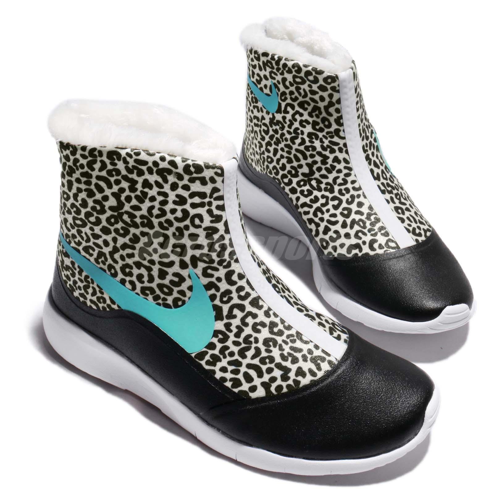 Nike Tanjun Hi Print GS White Light Aqua Black Kid High Boot Shoes AA2891-100