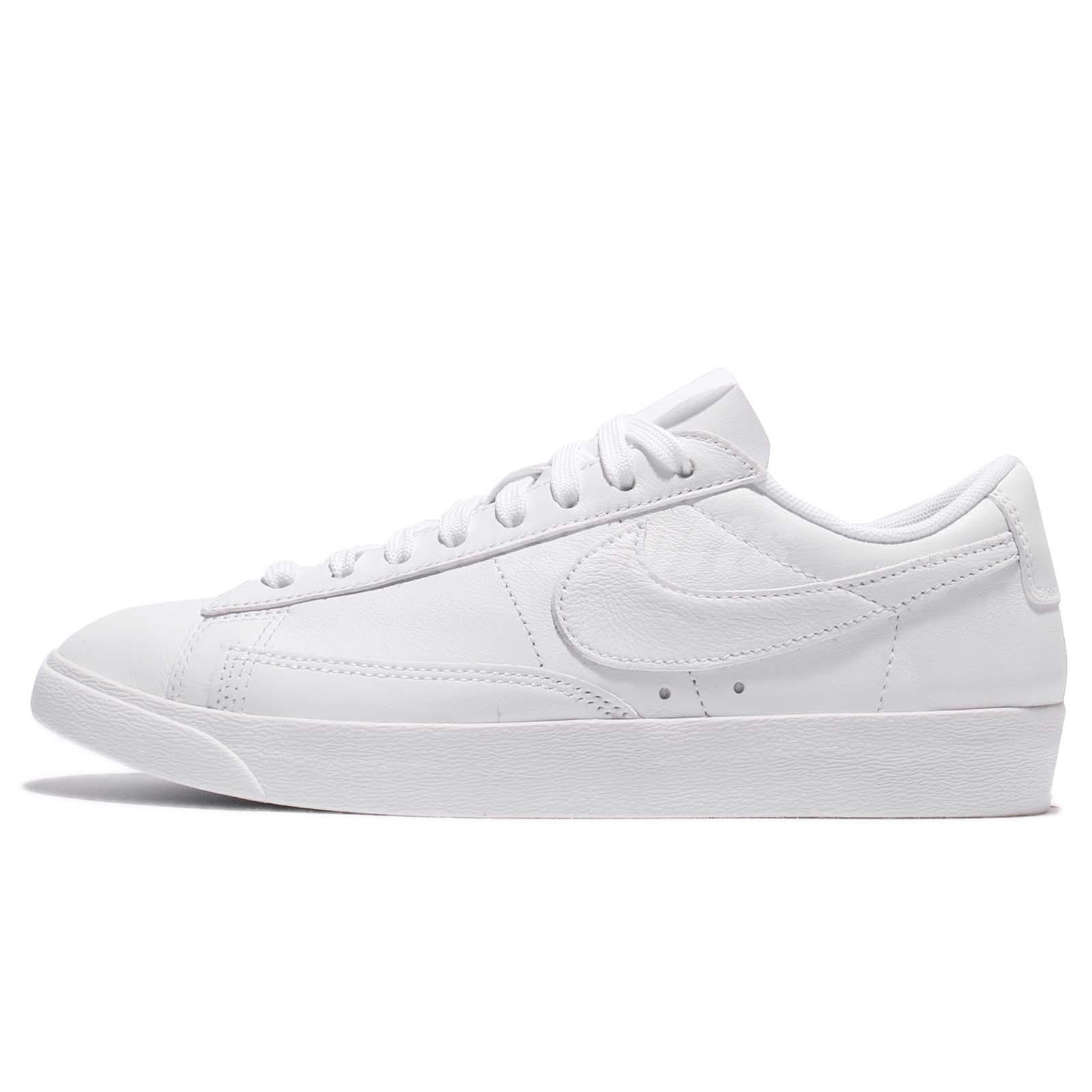 df98ec14184df0 Wmns Nike Blazer Low LE Triple White Leather Women Shoes Sneakers AA3961-104
