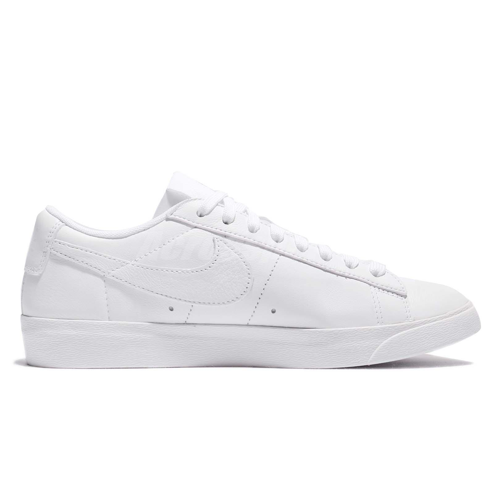 aa5819bf160 Wmns Nike Blazer Low LE Triple White Leather Women Shoes Sneakers ...