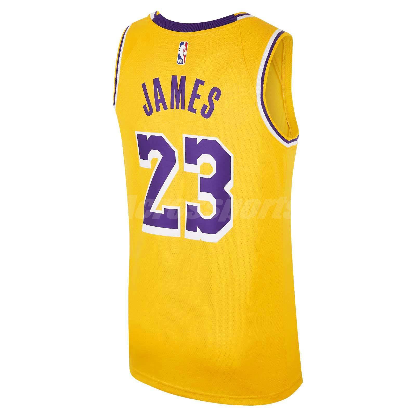 4bf22258ee07 Nike Men Lebron James Icon Edition Swingman Jersey LA Lakers Gold ...