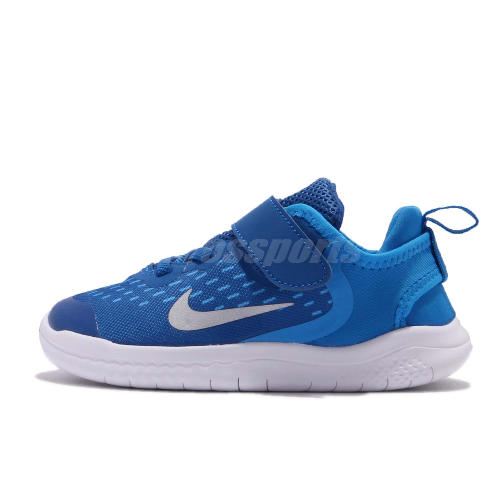 on feet images of online shop united kingdom Details about Nike Free RN 2018 TDV Blue White Toddler Infant Baby Shoes  Sneakers AH3453-401