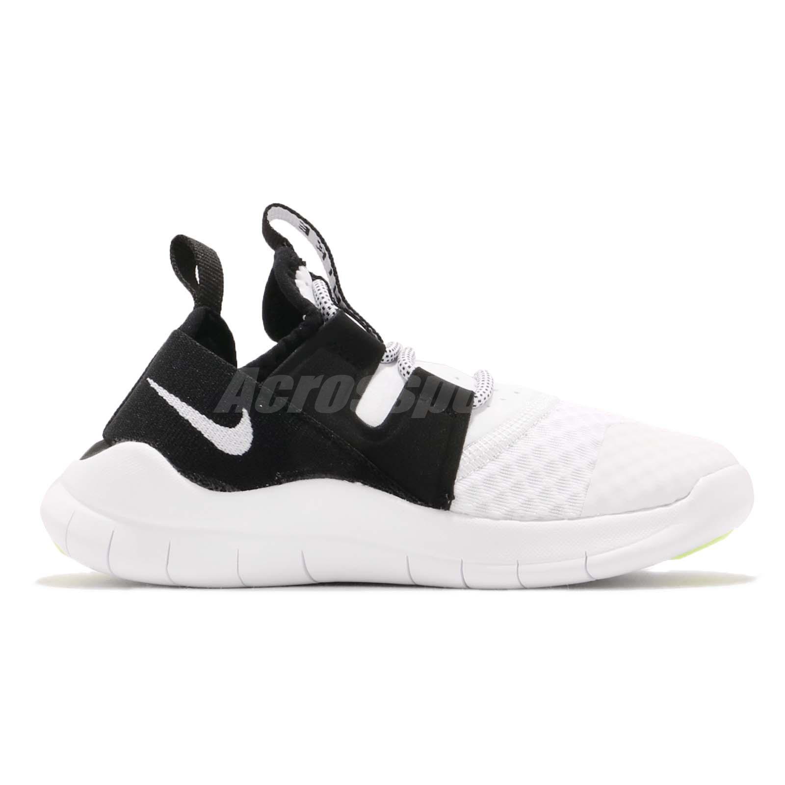 19b43e000d5b9 Nike Free RN CMTR 2018 PS White Black Preschool Kids Running Shoes ...