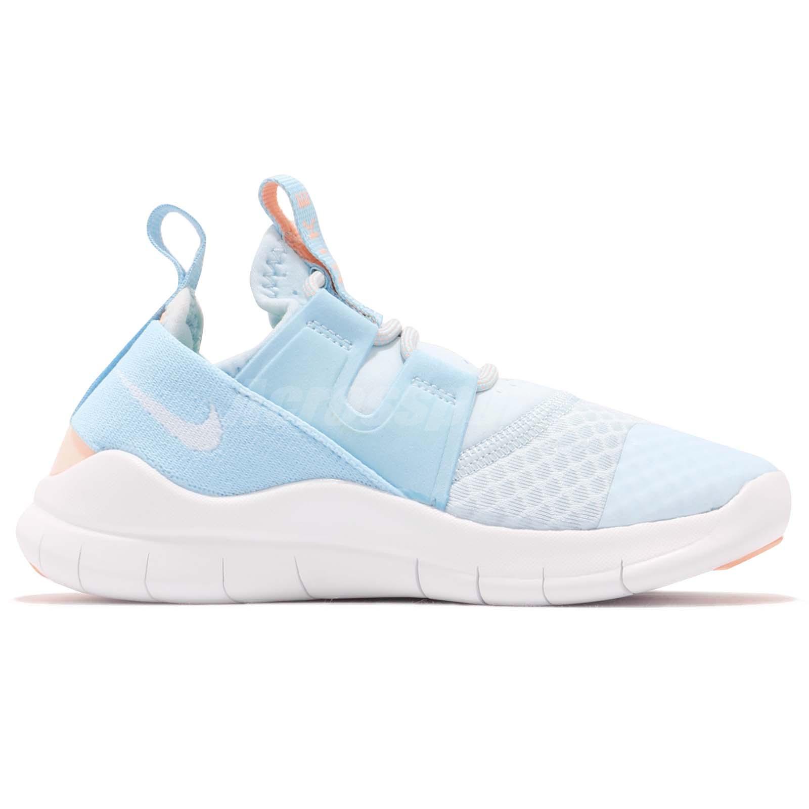 9847e8c886967 Nike Free RN CMTR 2018 PS White Blue Preschool Boy Girl Running ...