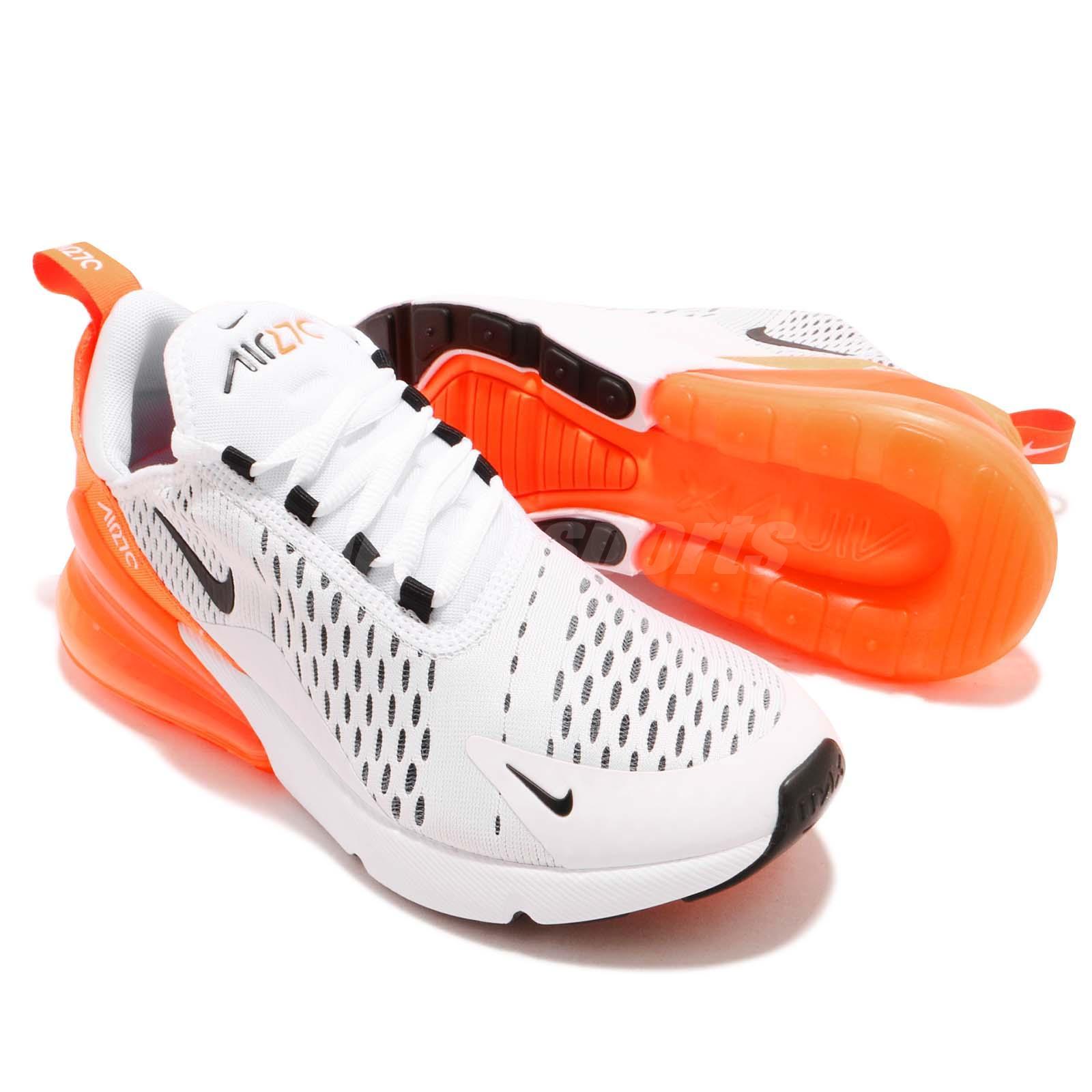 Nike Wmns Air Max 270 White Black Orange Women Running Shoes ... c2f1950a66d