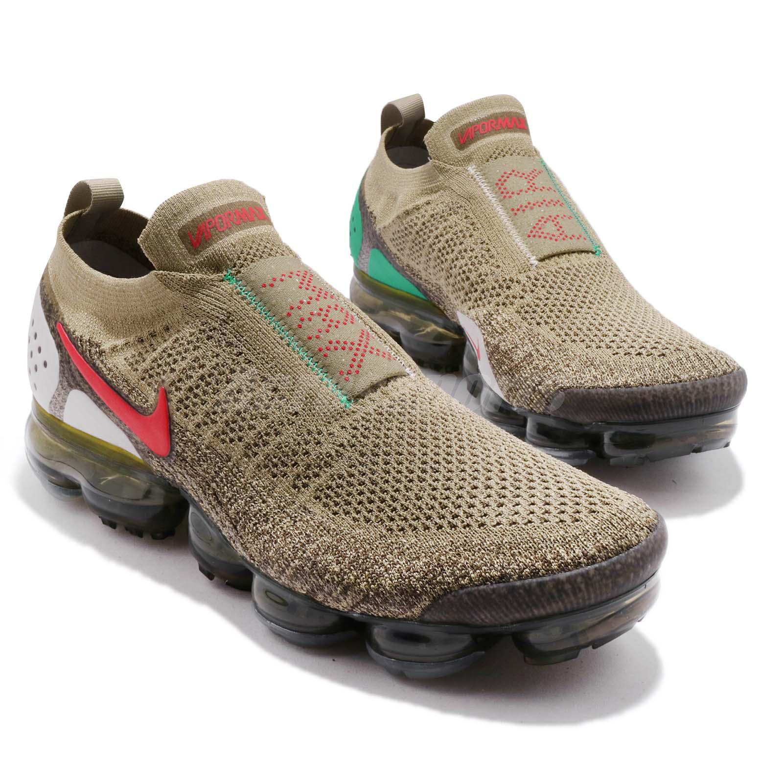 2b7bc62812d Nike Air Vapormax FK Moc 2 II Flyknit Neutral Olive Red Men Running ...