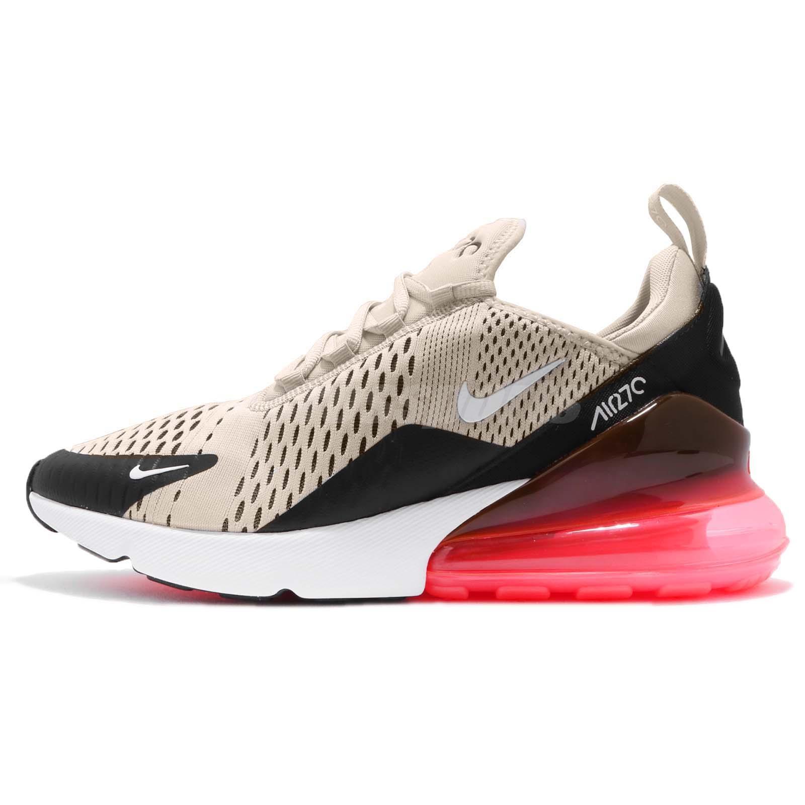 Nike Air Max 270 Black Light Bone Hot Punch Men Running Shoes Sneaker  AH8050-003