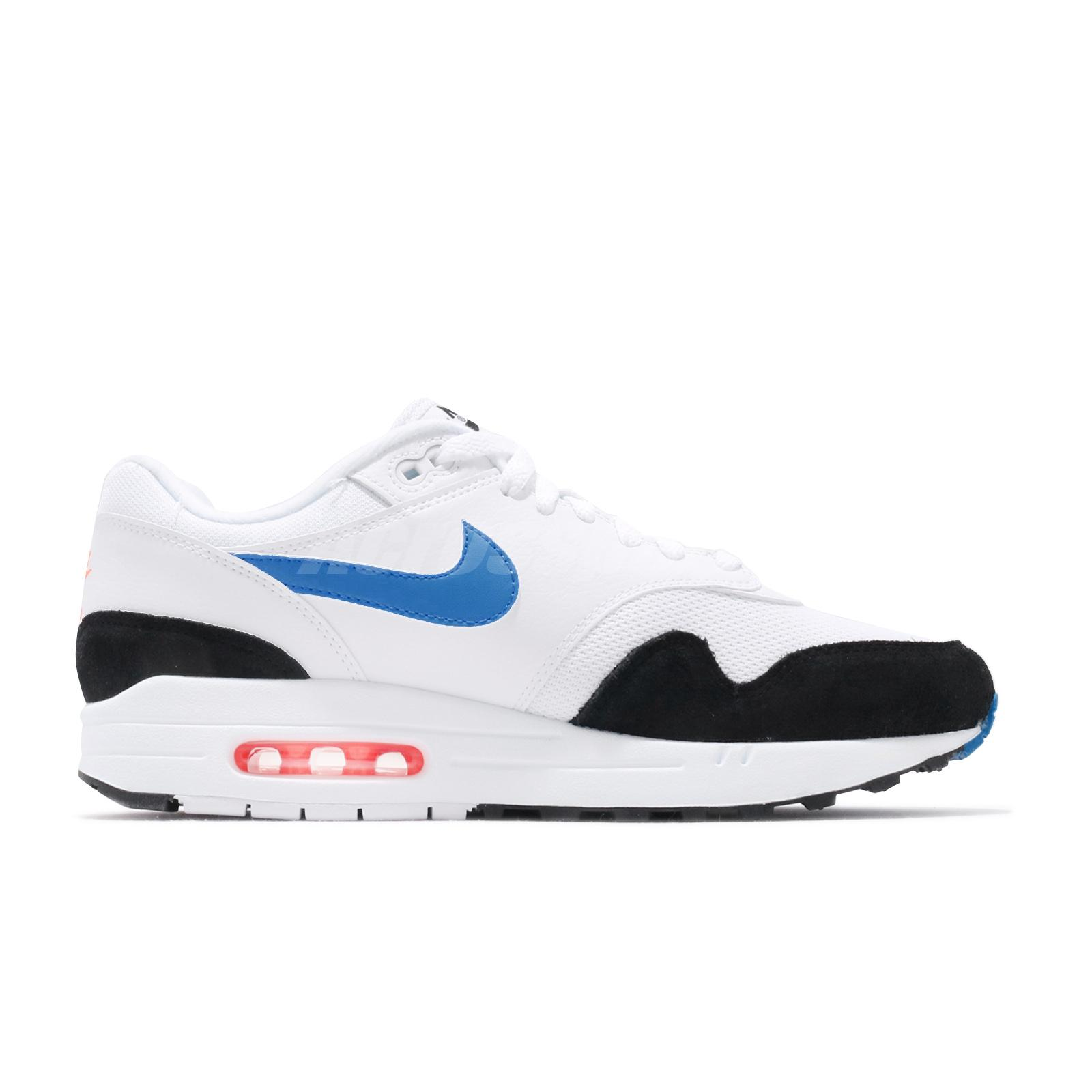 Details about Nike Air Max 1 White Blue Orange Mens Lifestyle Running Shoes NSW AH8145 112