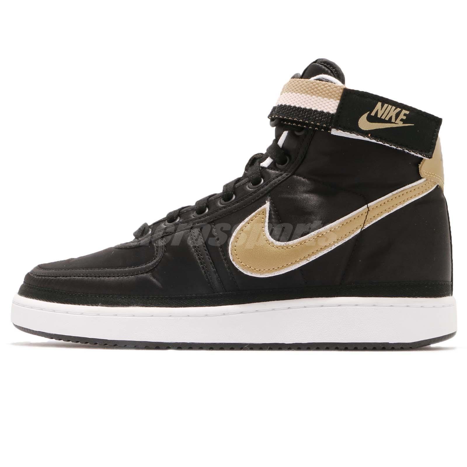 ce769929a852e0 Nike Vandal High Supreme QS Metallic Pack Black Satin Gold Men Shoes AH8652- 002