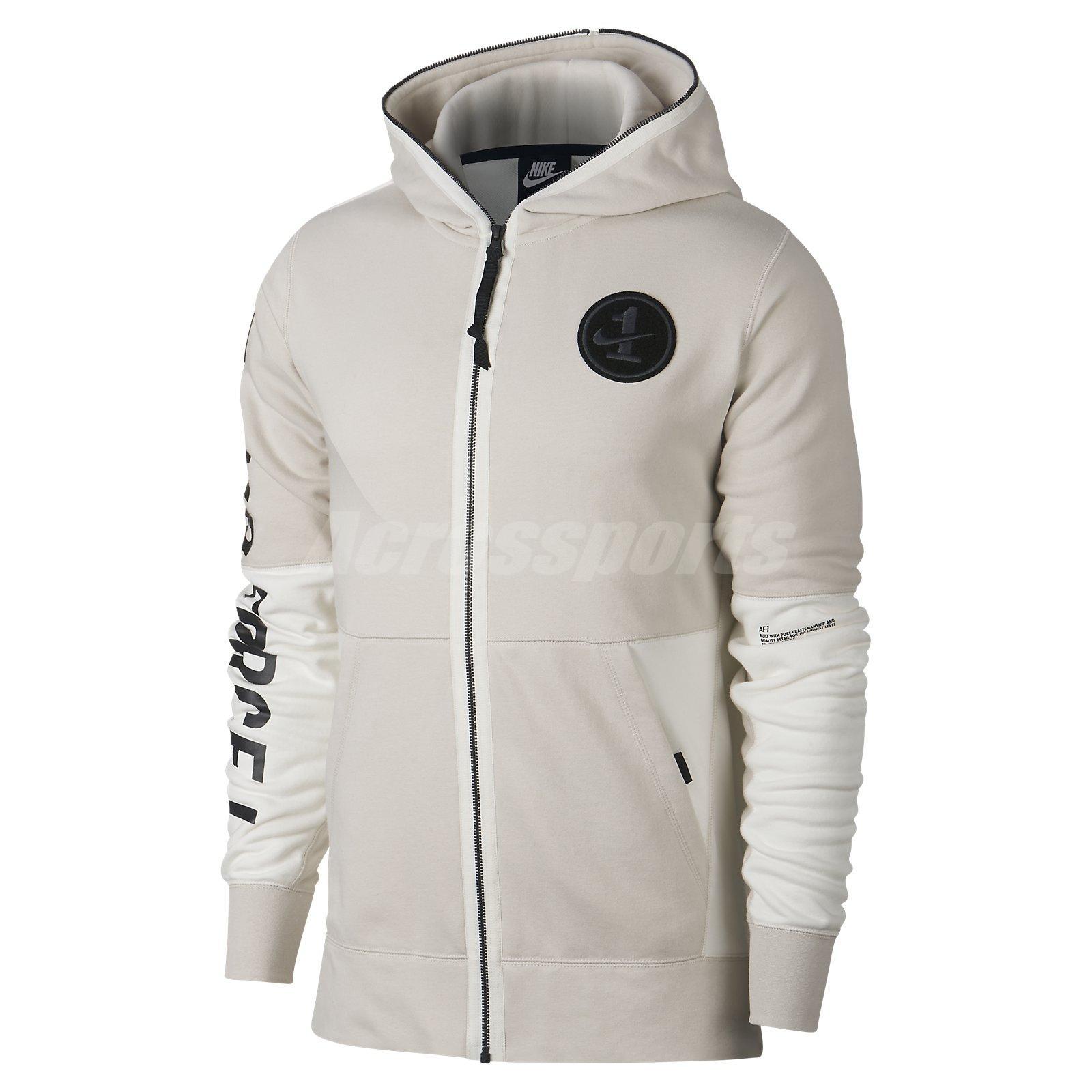 0445334bcd23 Nike AF1 Hoodie Full-Zip Hooded Jacket Air Force Sports Fitness Beige  AJ0785-102