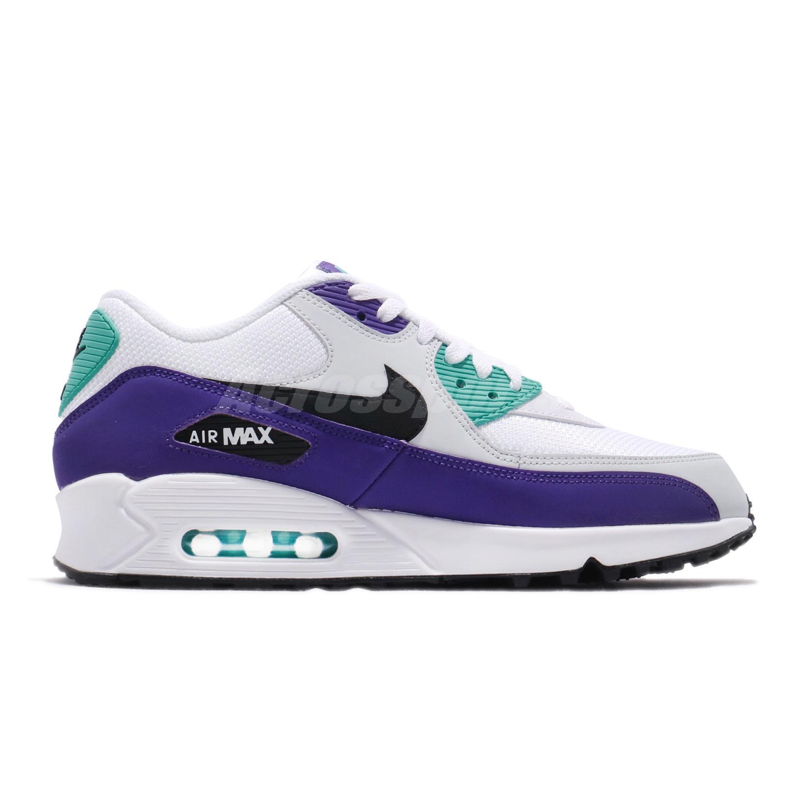 Details about Nike Air Max 90 Essential White Hyper Jade Purple Men Running Shoes AJ1285 103