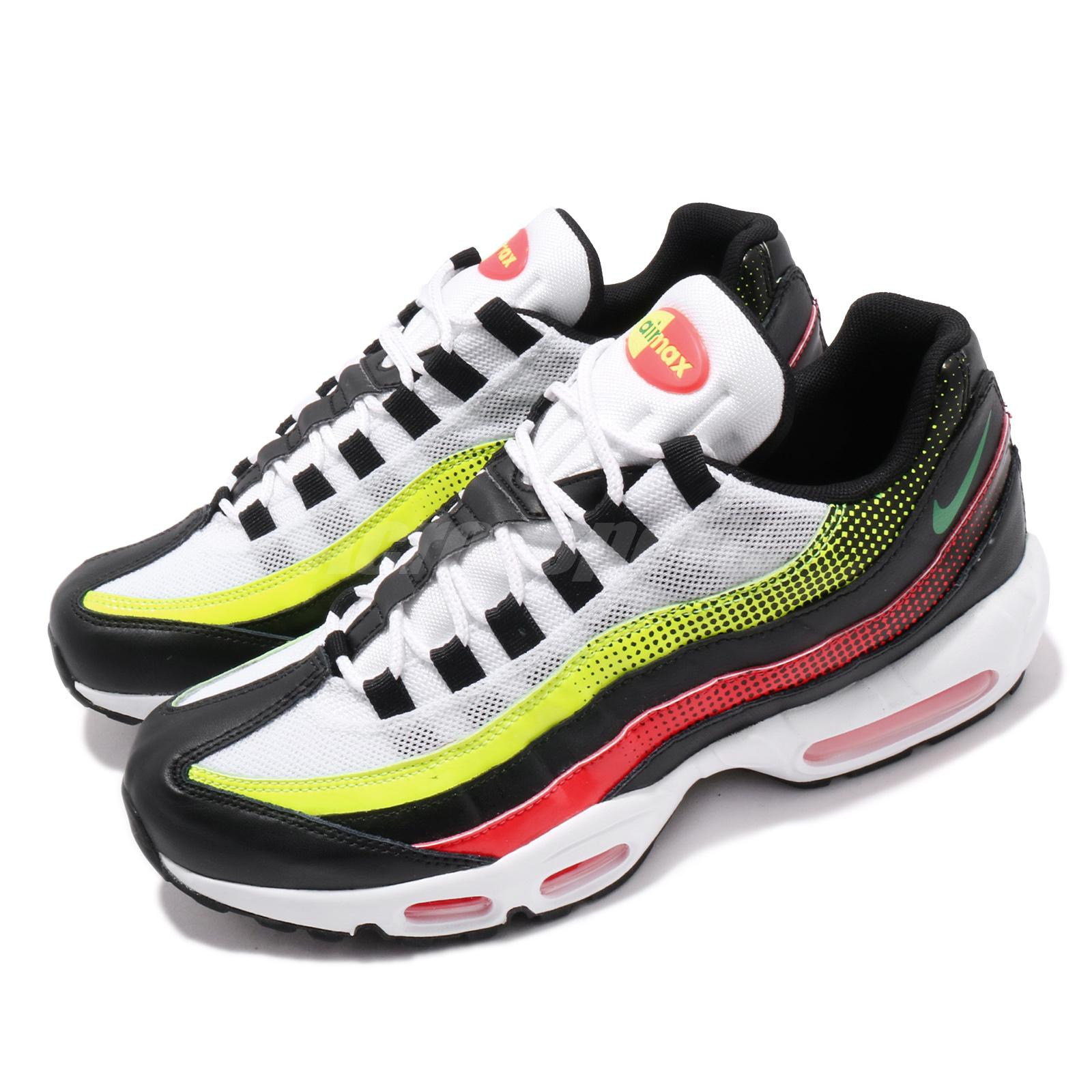 Nike Air Max 95 Se Black White Volt Solar Red Mens Running Shoes