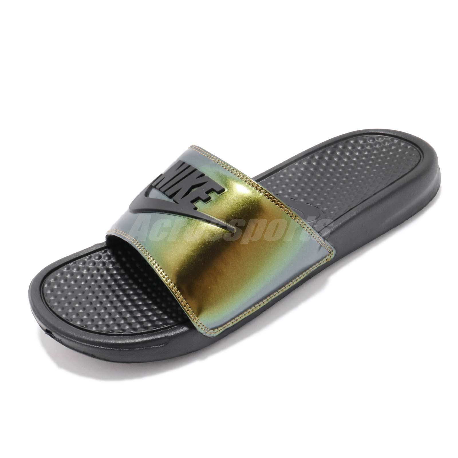 timeless design 4d5cd 4eae4 Nike Benassi JDI SE Just Do It Electro Green Black Slide Slippers AJ6745-003