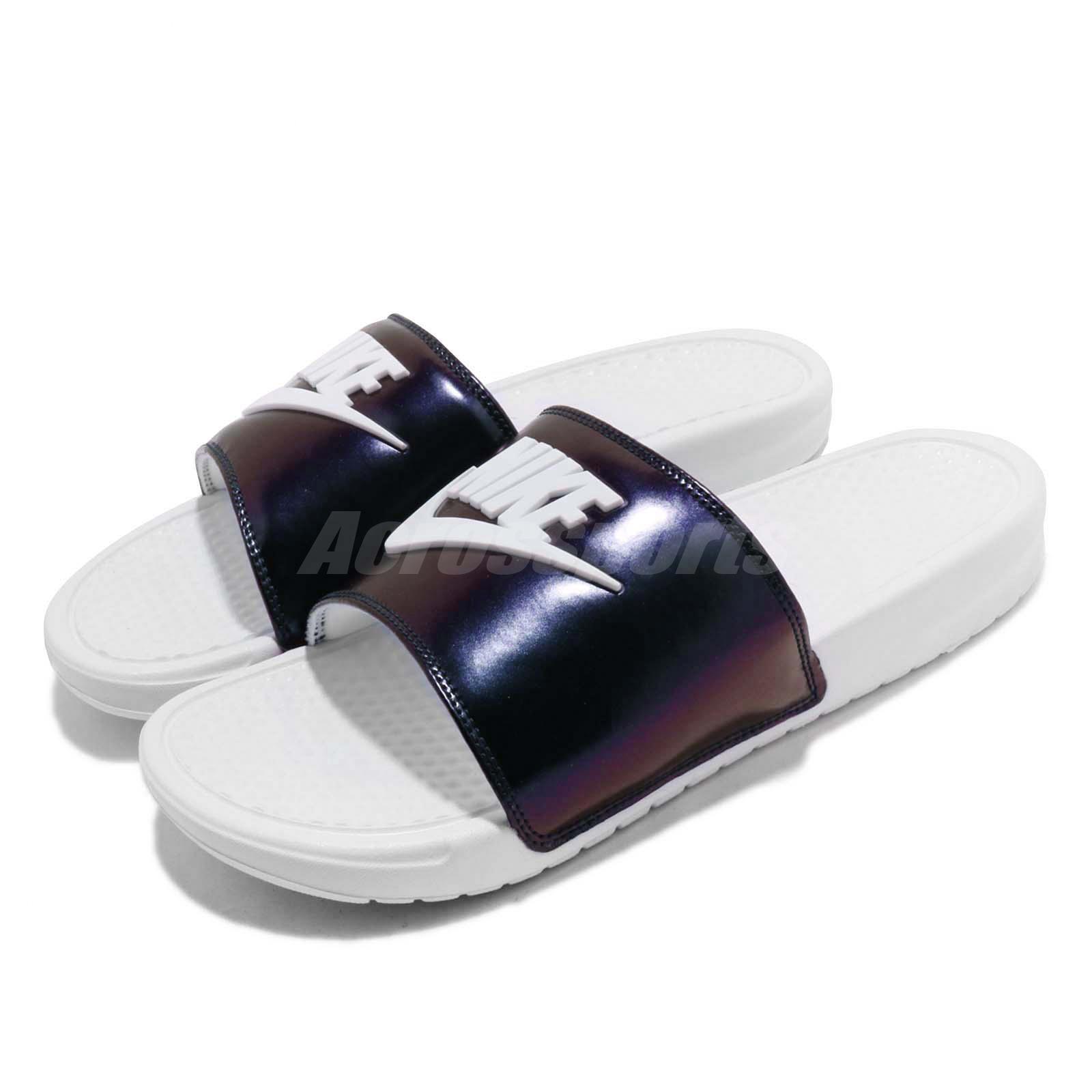 separation shoes f6453 4ceb5 Details about Nike Benassi JDI SE White Lucid Green Men Sports Sandals  Slides AJ6745-102