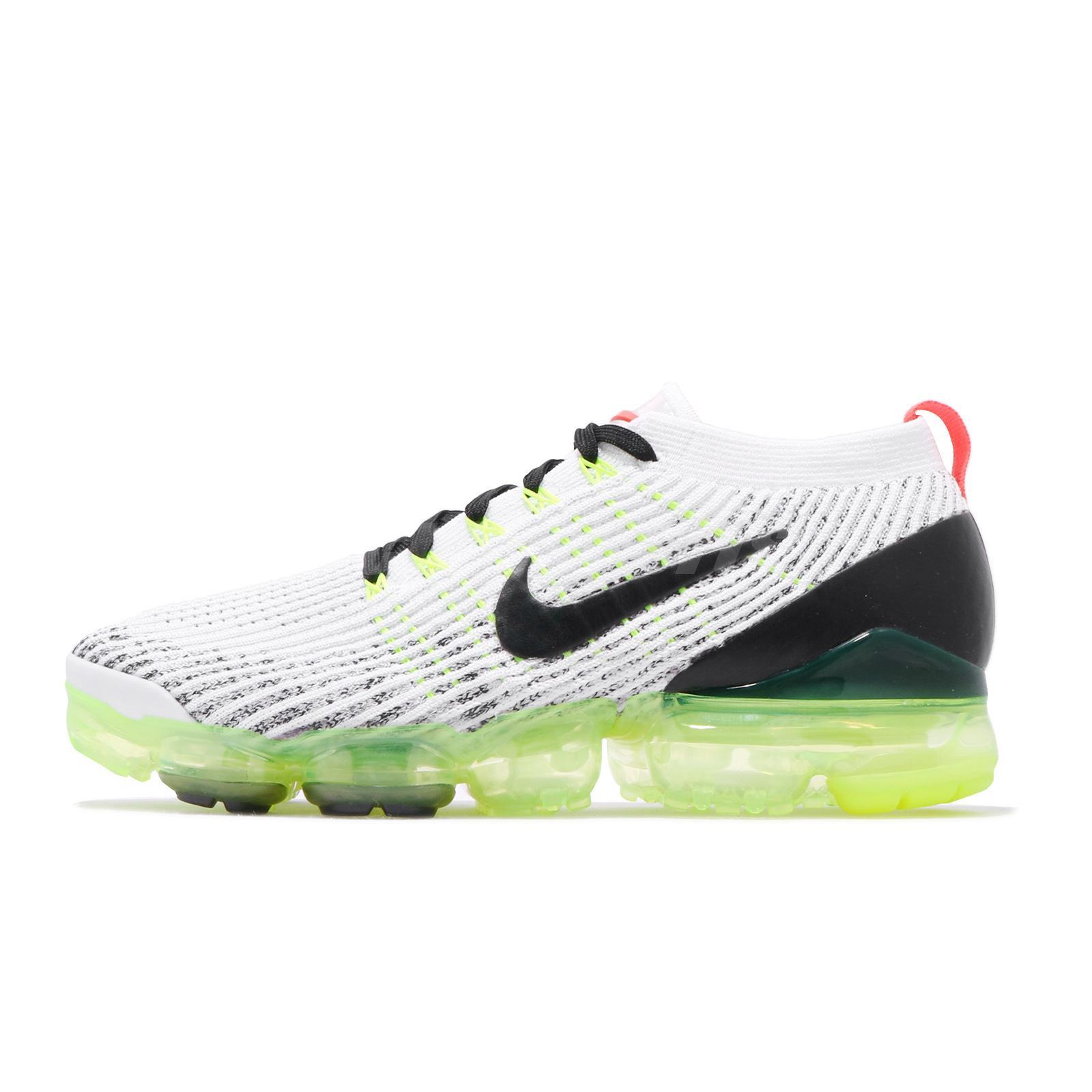 88d3826cb1 Nike Air Vapormax Flyknit 3 White Black Volt Men Running Shoe Sneaker AJ6900 -100