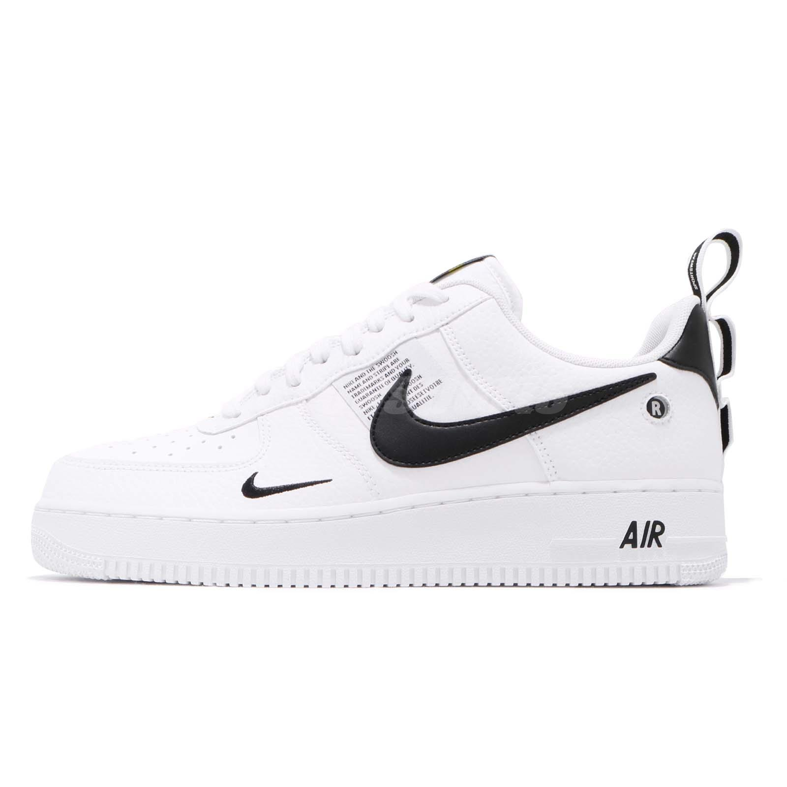 NIKE AIR FORCE 1 07 LV8 Utility White Black Yellow Men Shoes Sneakers AJ7747 100