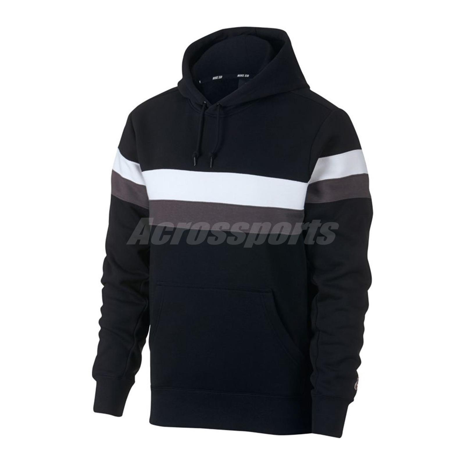 effa966f15 Nike SB Hoodie Icon Stripes Fleece Skateboarding Sport Fitness Black ... nike  sb hoodie