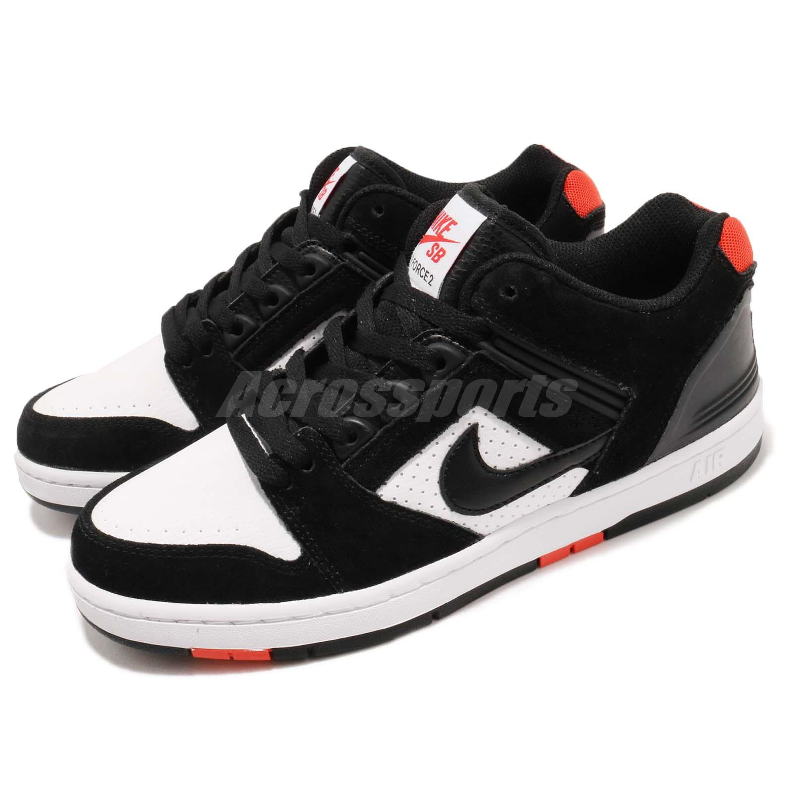 e044e5aaee21 Details about Nike SB Air Force II Low 2 Black White Red Men Skate Boarding  Shoes AO0300-006