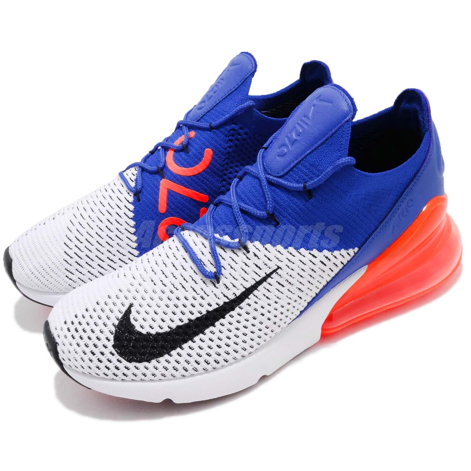 best loved 79594 9f3d6 Details about Nike Air Max 270 Flyknit FK White Black Racer Blue Men  Running Shoes AO1023-101