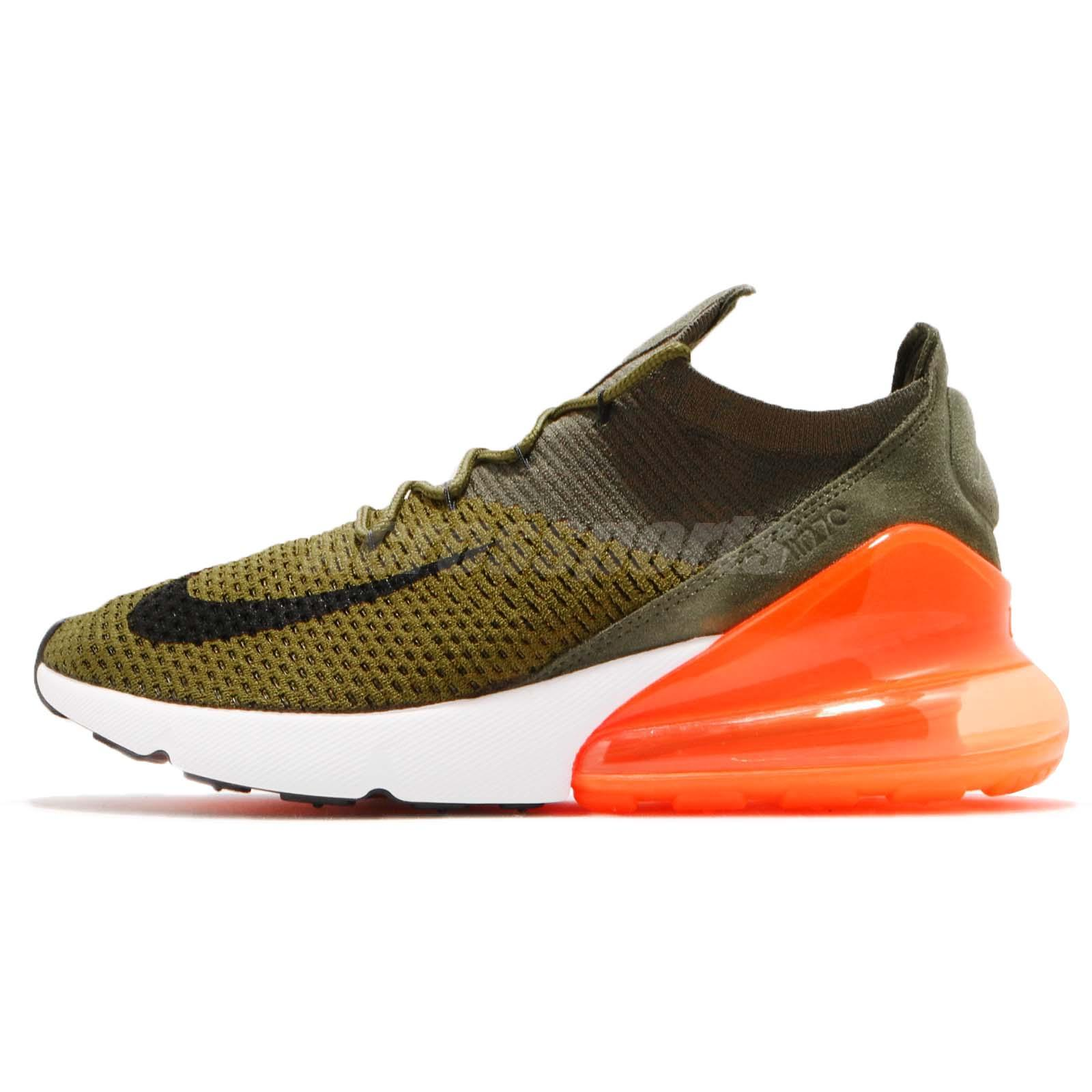 Details about Nike Air Max 270 Flyknit Olive Flak Cargo Khaki Orange Men Shoes AO1023 301