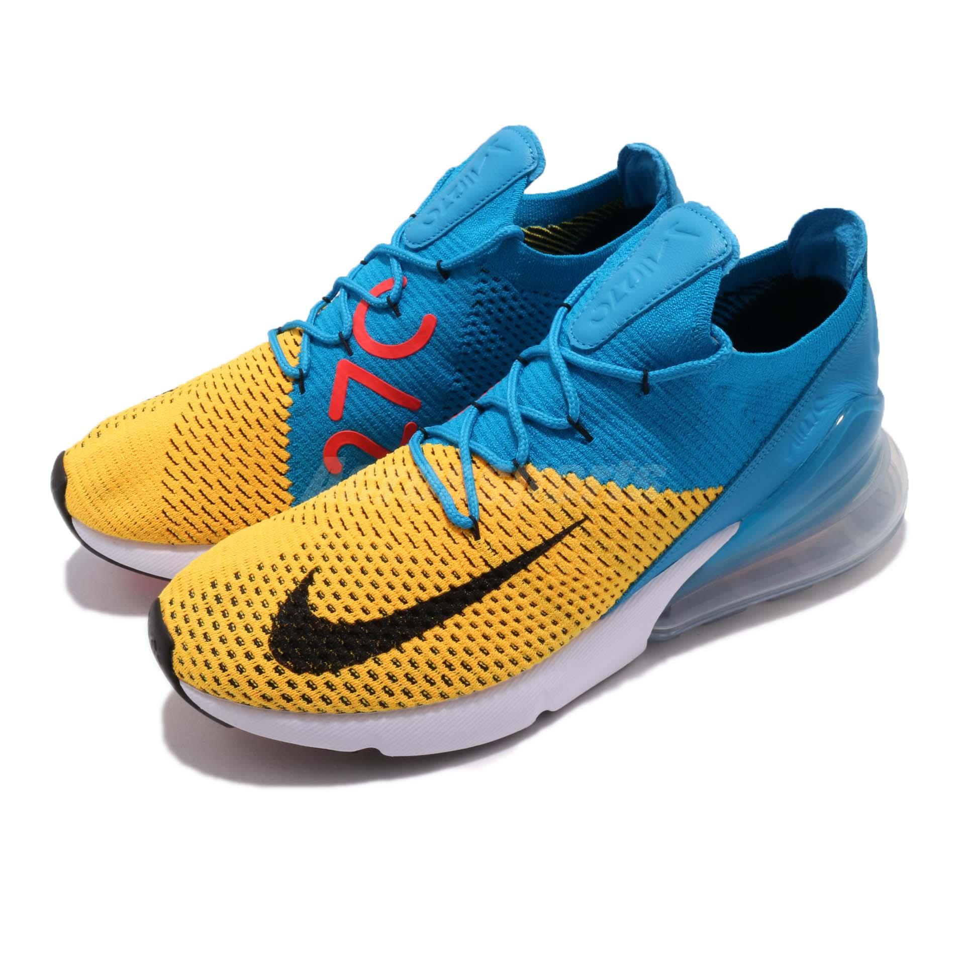 timeless design 5735c 91f2c Details about Nike Air Max 270 Flyknit FK Laser Orange Blue Orbit Men  Running Shoes AO1023-800
