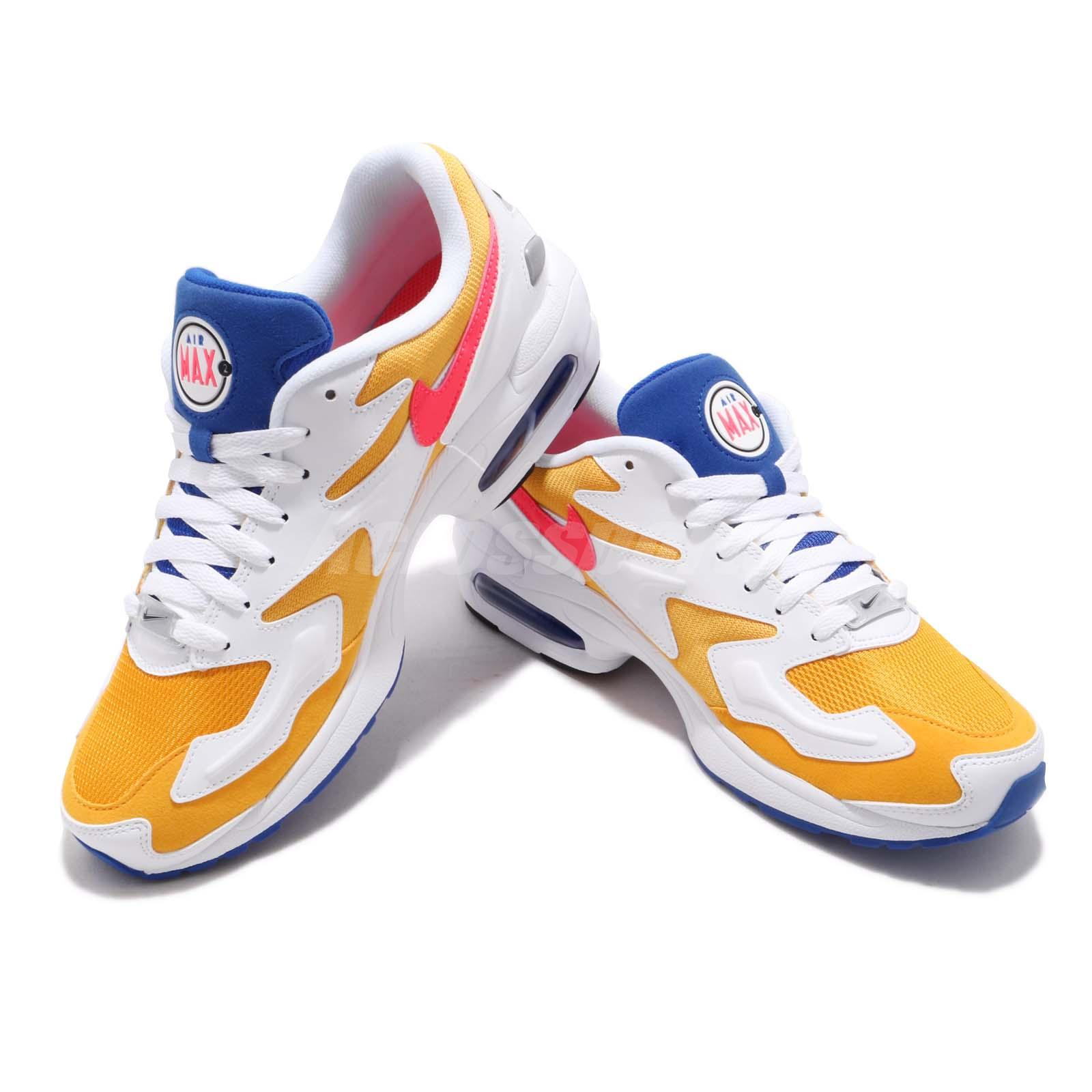 finest selection f9eff 7da73 Nike Air Max2 Light Gold Yellow Crimson Blue Mens Running Shoes NSW ...