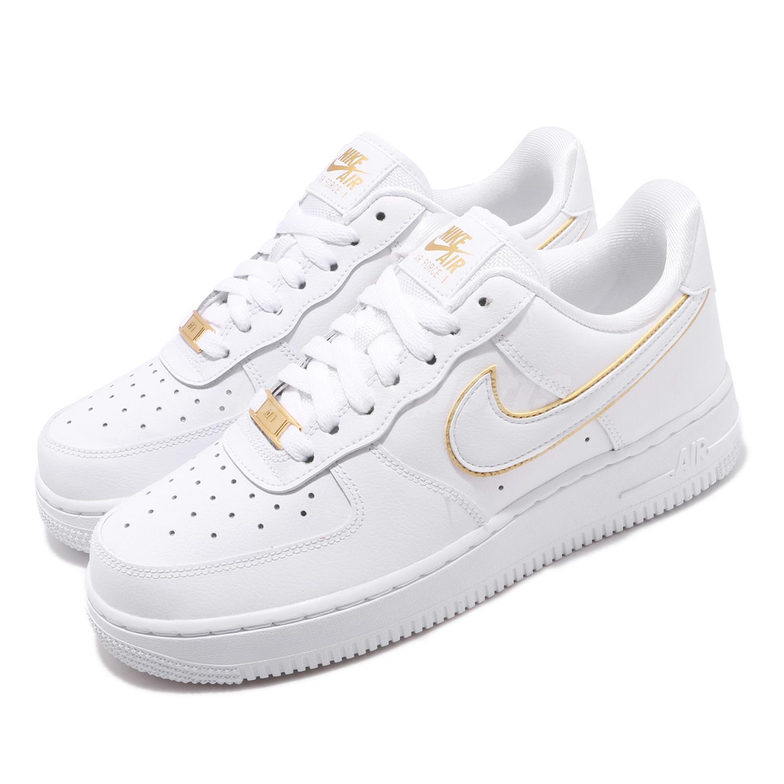 Details about Nike Wmns Air Force 1 07 ESS AF1 White Gold Women Shoes  Sneakers AO2132-102