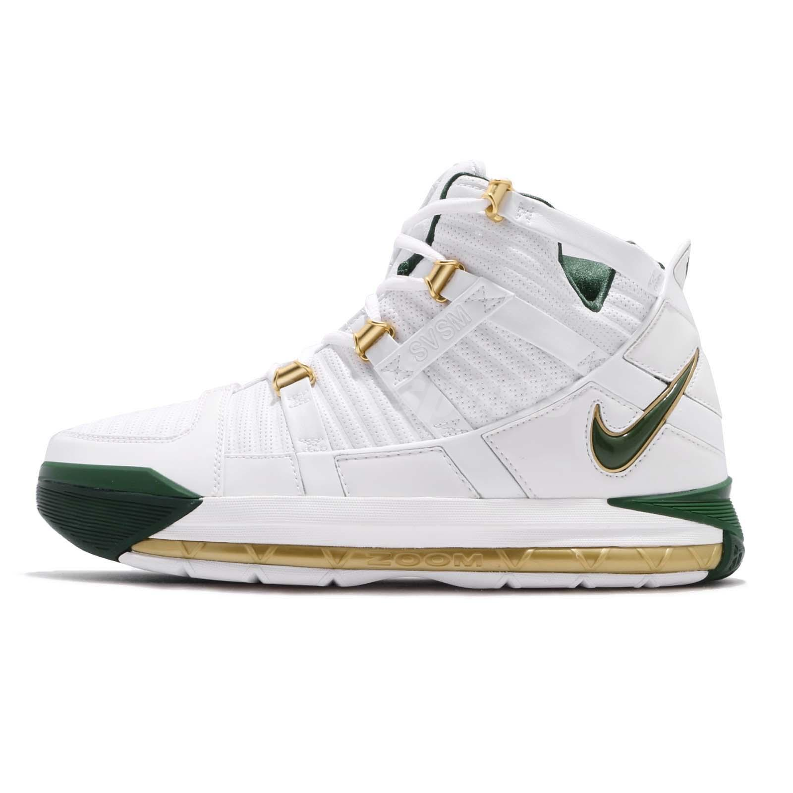 detailed pictures acdf3 7ce4b Nike Zoom Lebron III QS SVSM Home White Green Men Basketball Shoes  AO2434-102