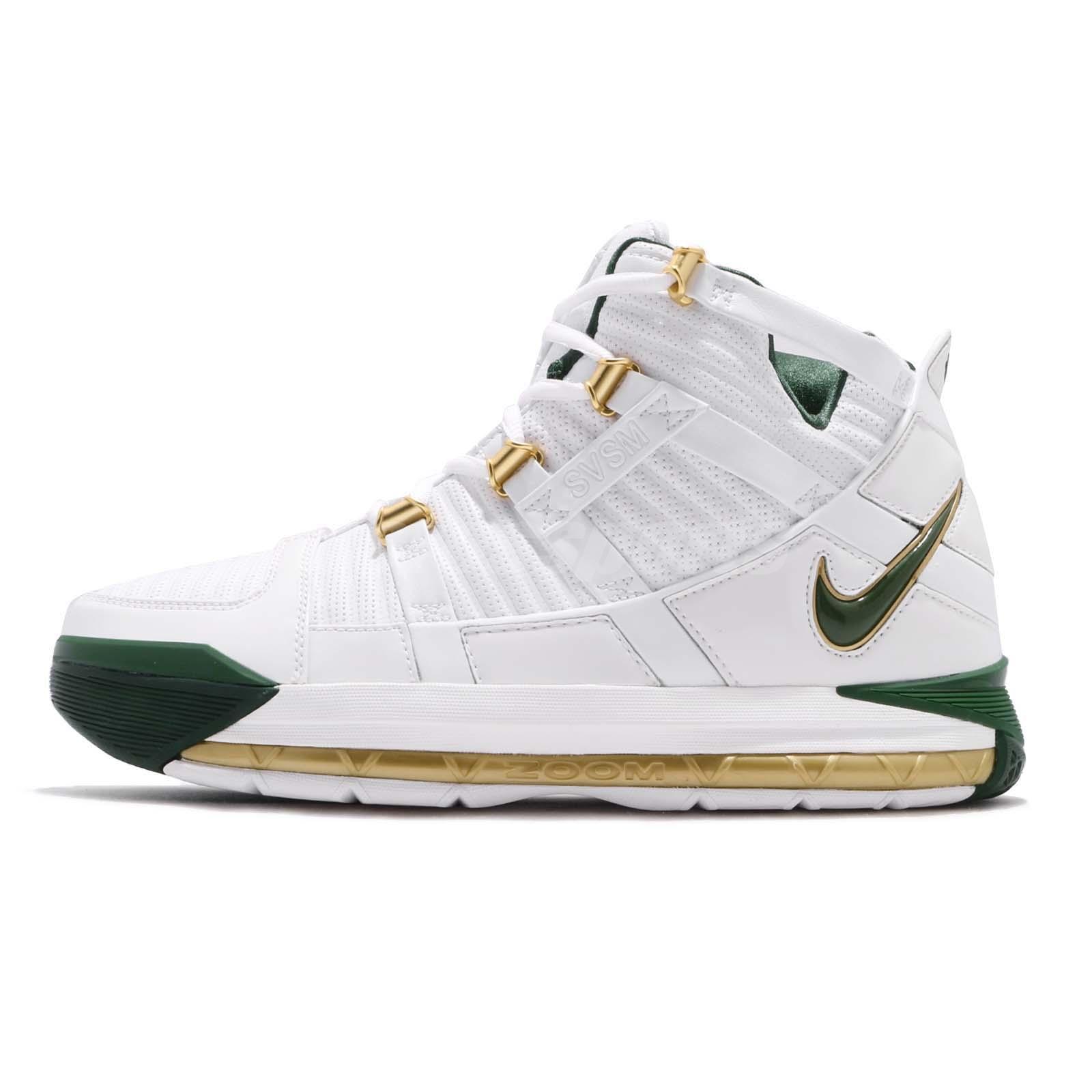 9fe0d2688f90 Nike Zoom Lebron III QS SVSM Home White Green Men Basketball Shoes  AO2434-102