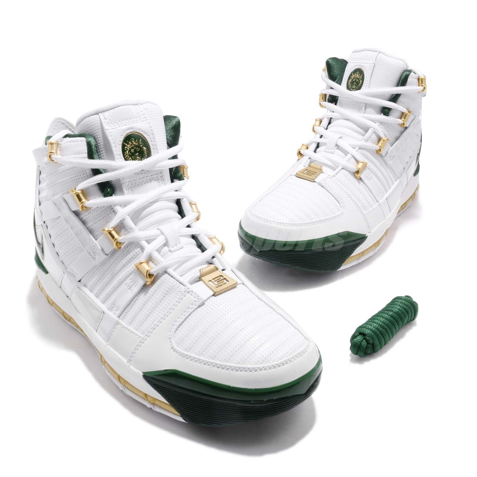 69504653cd20 Nike Zoom Lebron III QS SVSM Home White Green Men Basketball Shoes ...