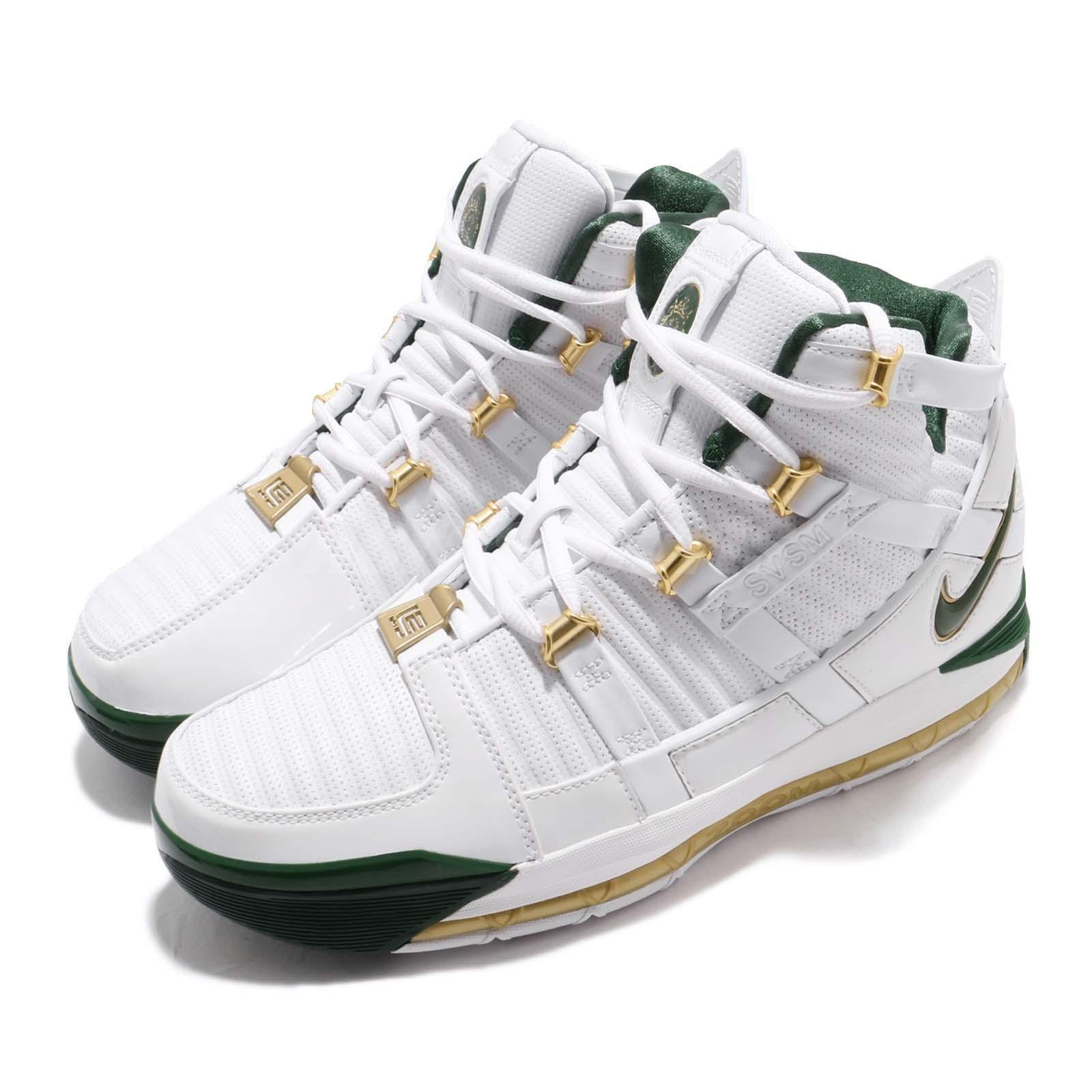 02b8e5bba07 Details about Nike Zoom Lebron III QS SVSM Home White Green Men Basketball  Shoes AO2434-102