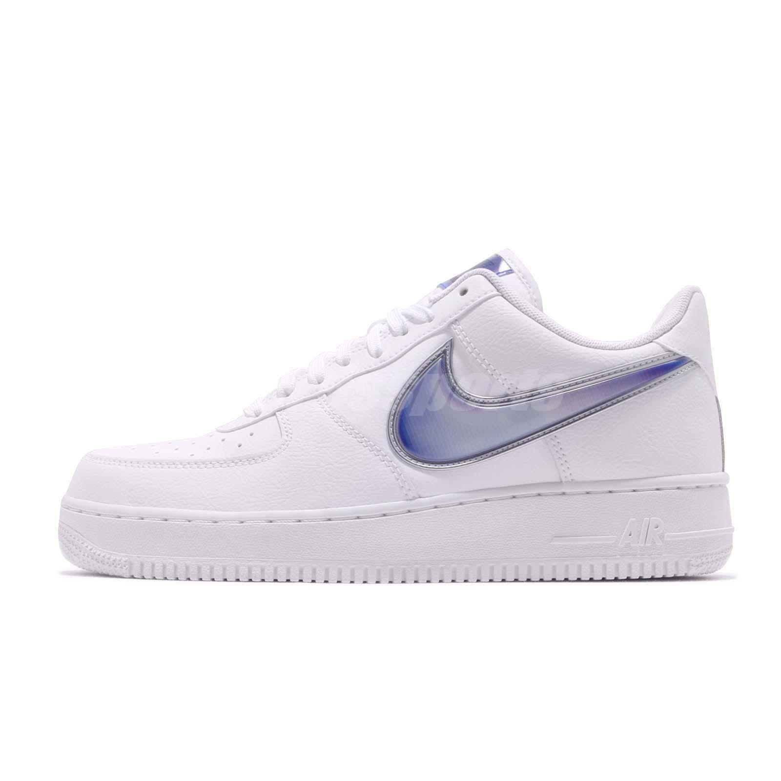 Detalles acerca de Nike Air Force 1 07 LV8 3 blanco azul Oversize Swoosh Informal Zapatos AF1 AO2441 101 mostrar título original